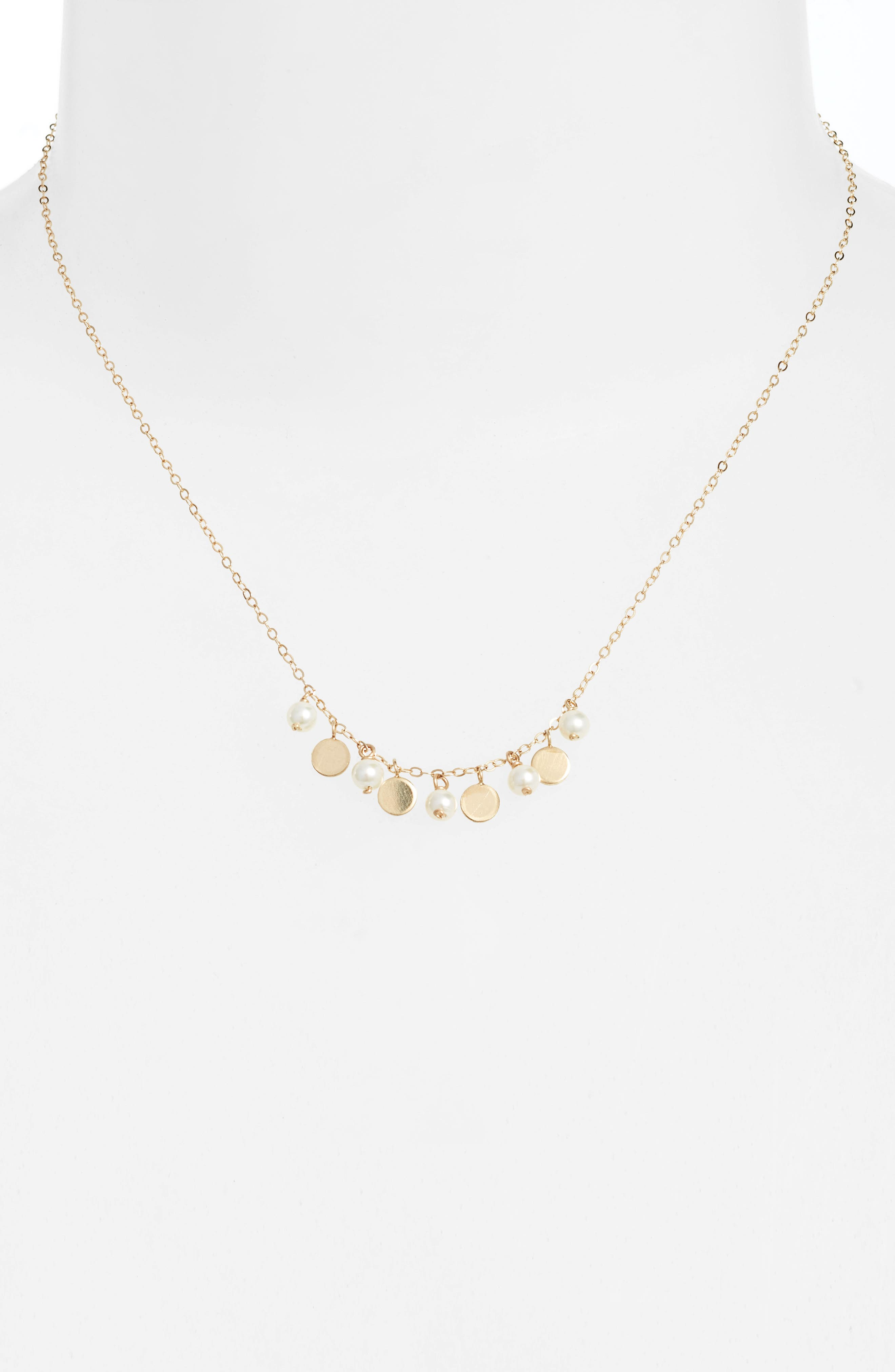 Confetti Pearl Gold Necklace,                             Alternate thumbnail 2, color,                             YELLOW GOLD/ WHITE PEARL