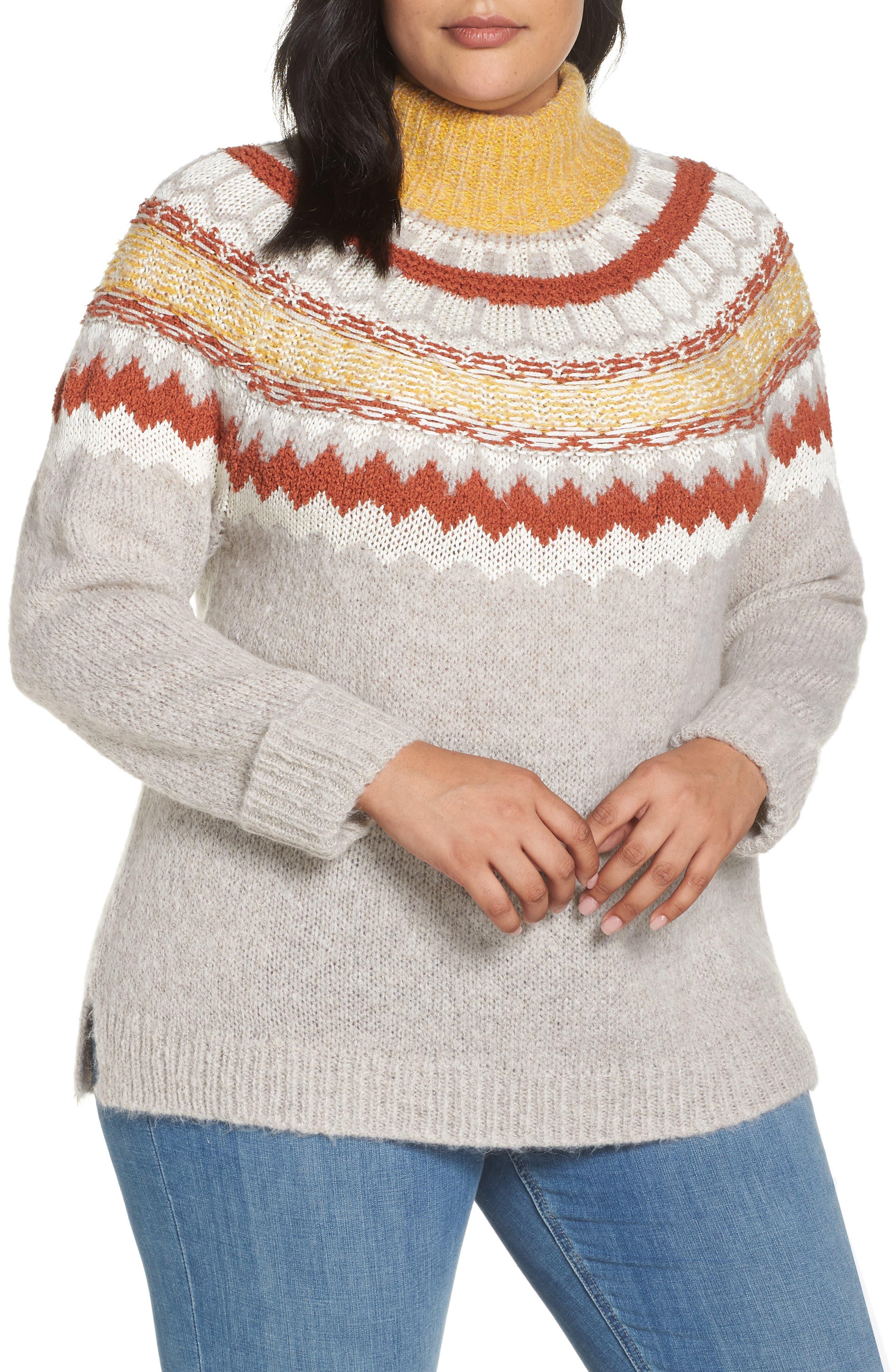 Chunky Jacquard Sweater,                             Main thumbnail 1, color,                             TAN COBBLESTONE FOLIAGE PTN