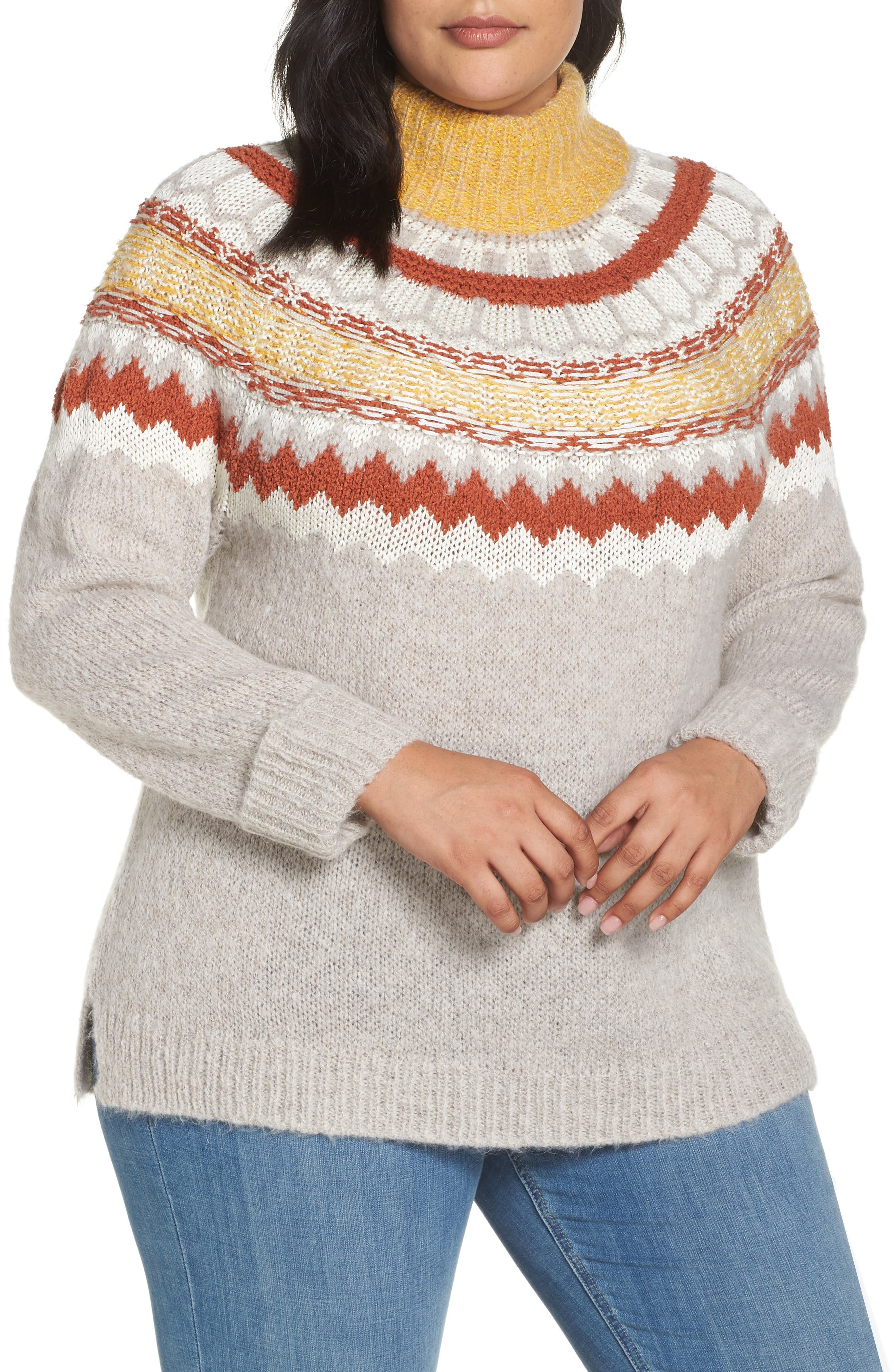 Chunky Jacquard Sweater,                         Main,                         color, 235