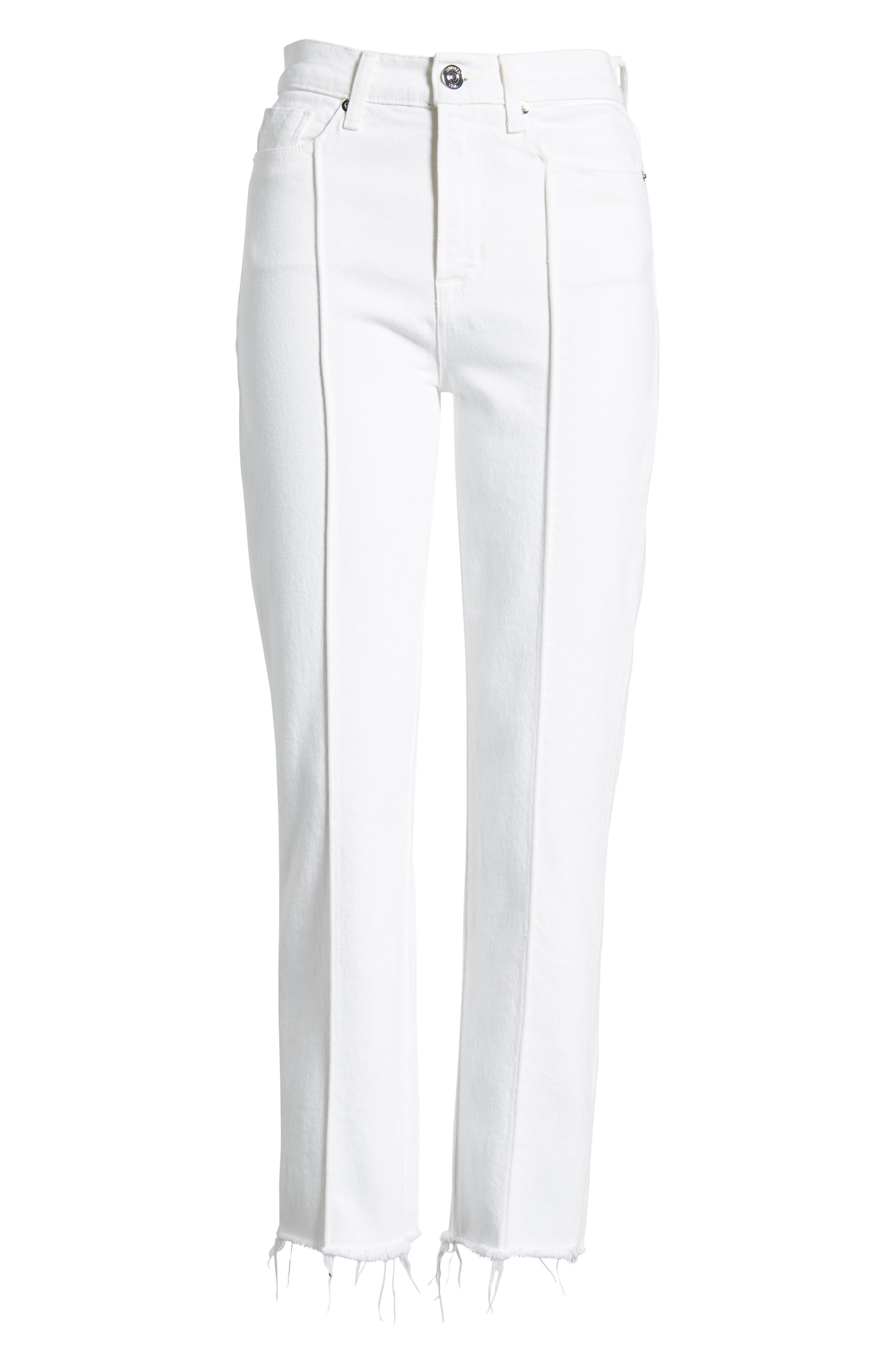 Zoeey Pintuck High Waist Crop Straight Leg Jeans,                             Alternate thumbnail 7, color,                             120