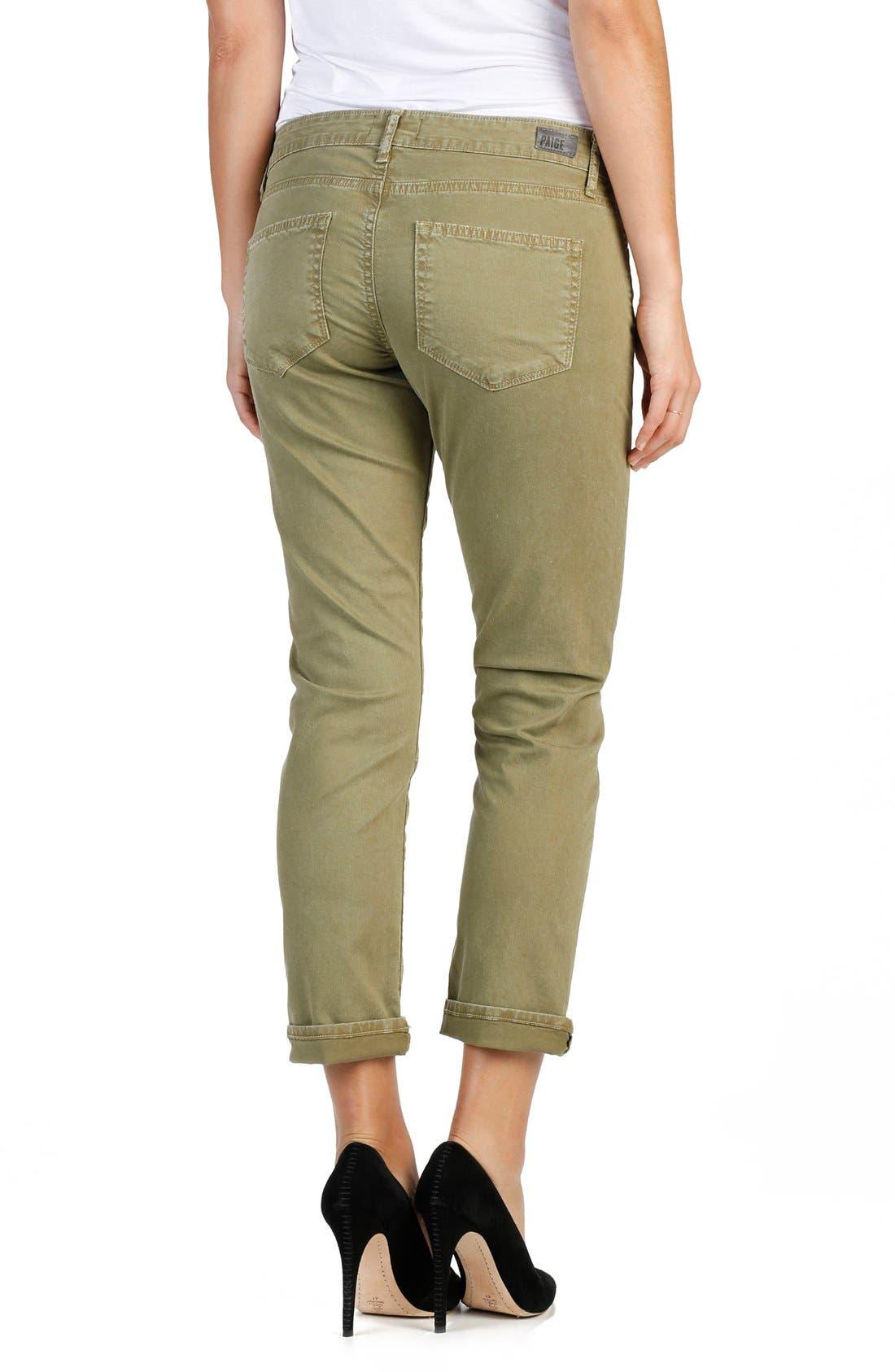 Brigitte Crop Boyfriend Jeans,                             Alternate thumbnail 6, color,                             SAHARA GREEN