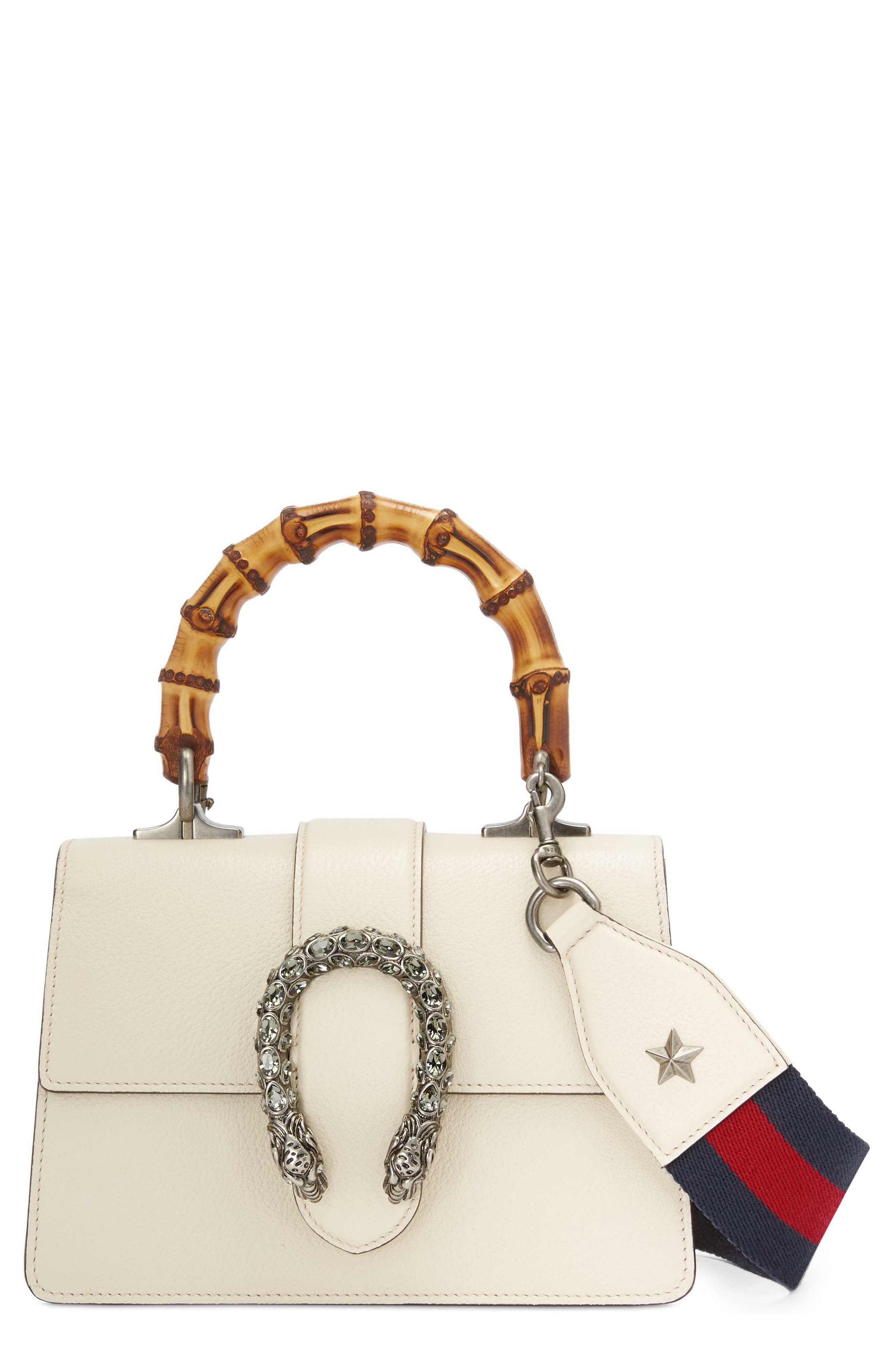 Mini Dionysus Leather Top Handle Satchel,                             Main thumbnail 1, color,                             IVORY/ BLUE/ RED/ BLACK