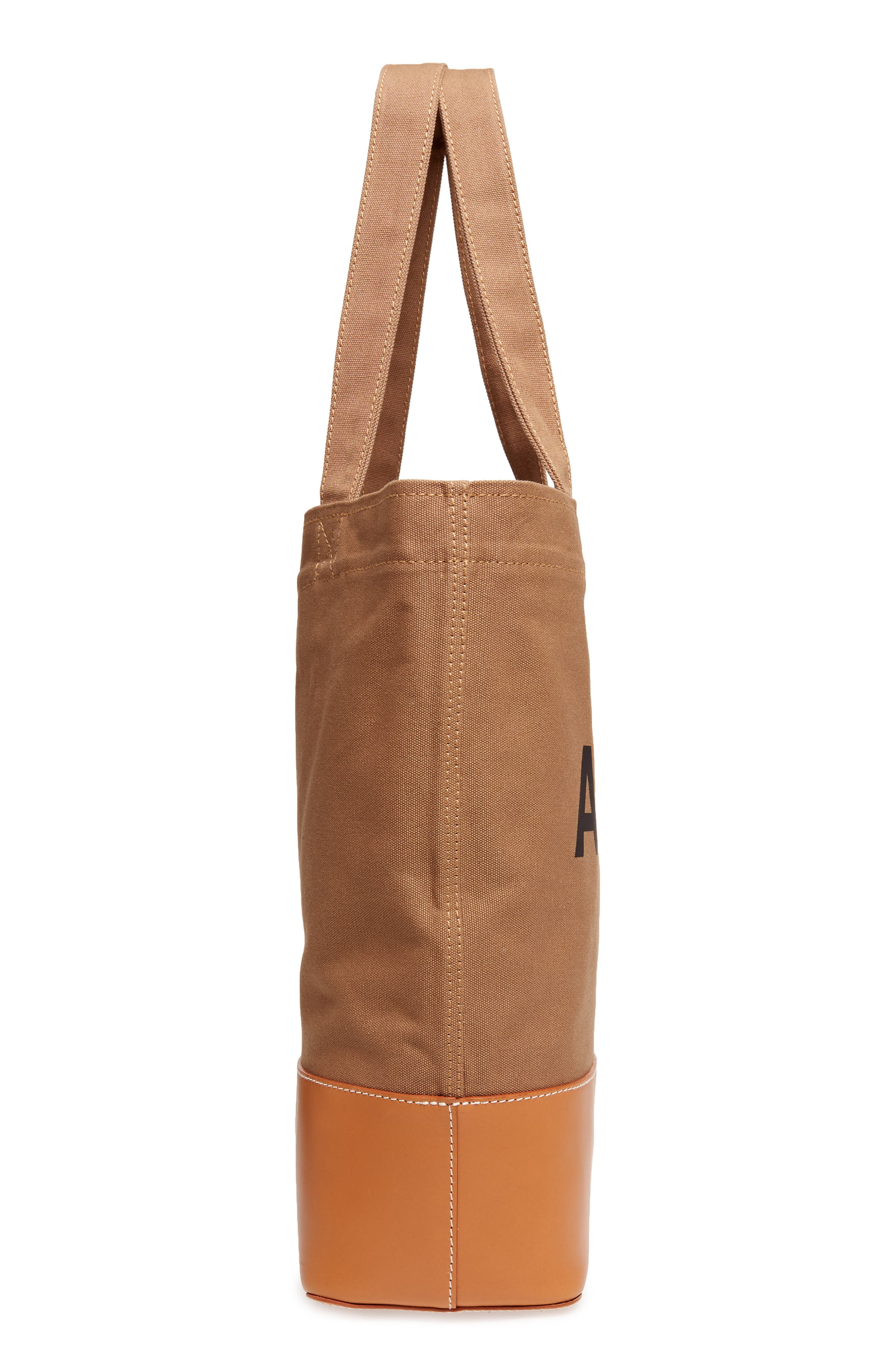 Cabas Axel Canvas & Leather Tote,                             Alternate thumbnail 5, color,                             KAKI CLAIR