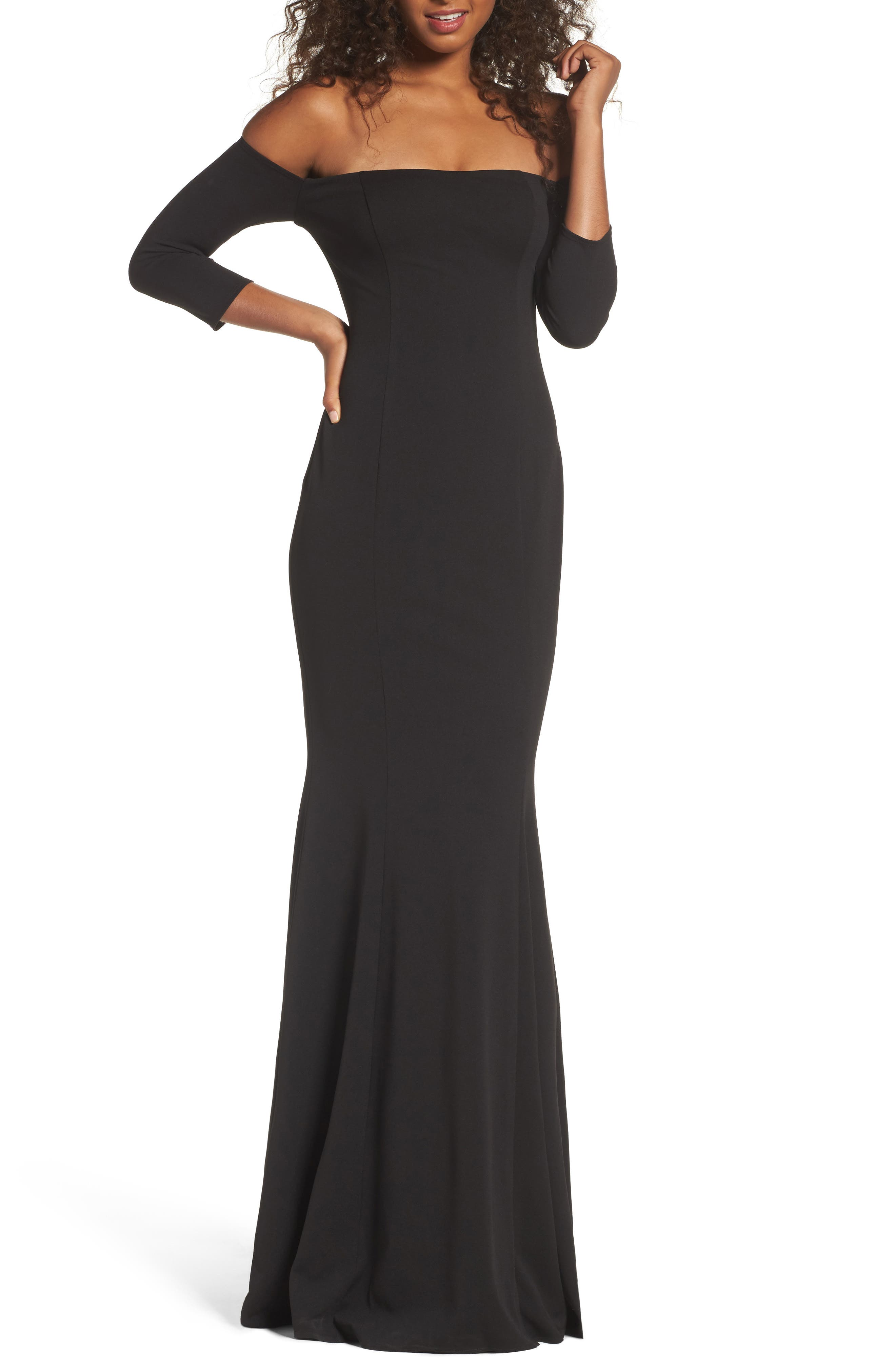 Brentwood Three-Quarter Sleeve Off the Shoulder Gown,                         Main,                         color, BLACK