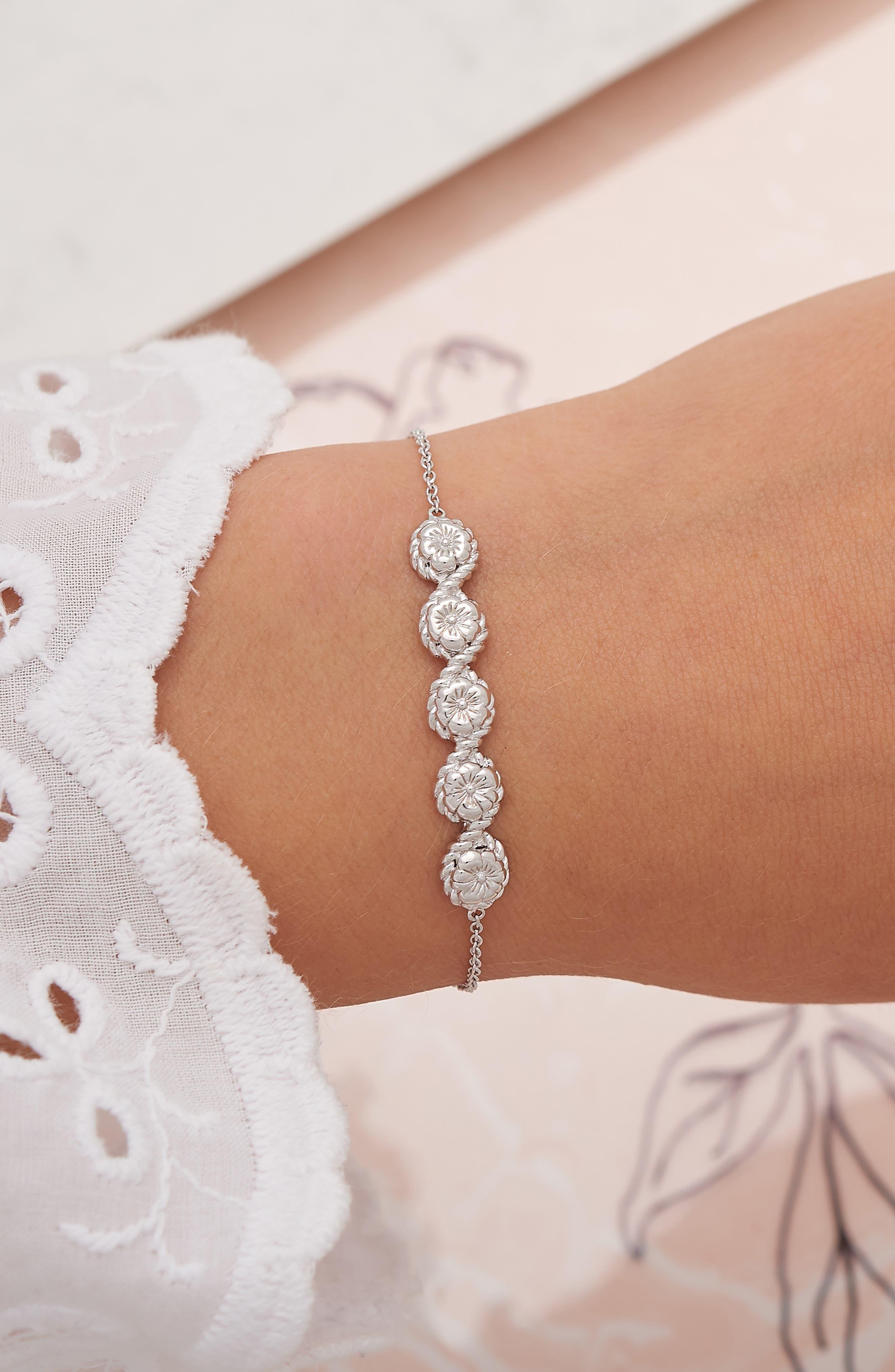 Flower Show Rope Chain Bracelet,                             Alternate thumbnail 2, color,                             SILVER