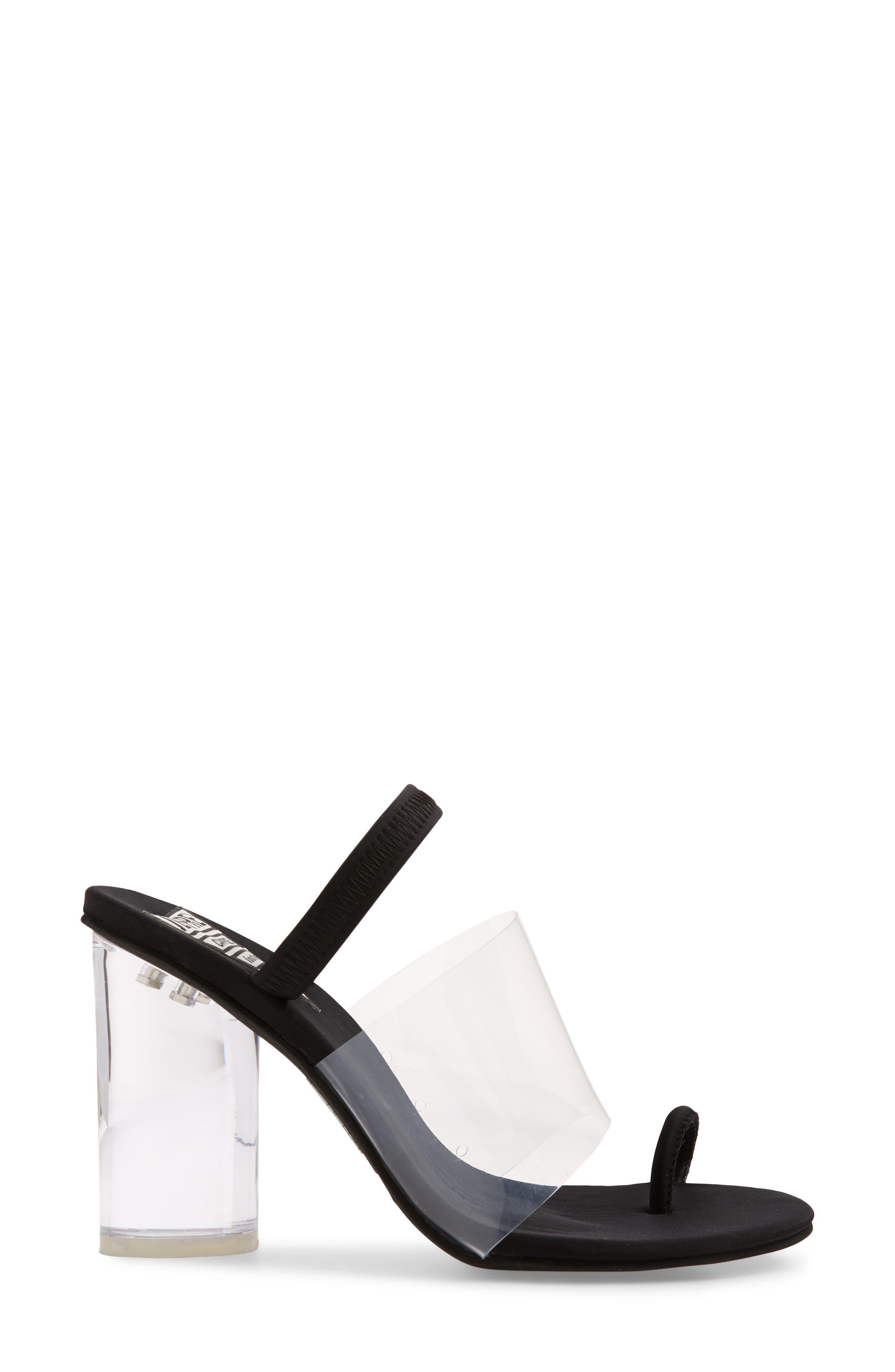 Mania Clear Toe Loop Sandal,                             Alternate thumbnail 3, color,                             BLACK FABRIC