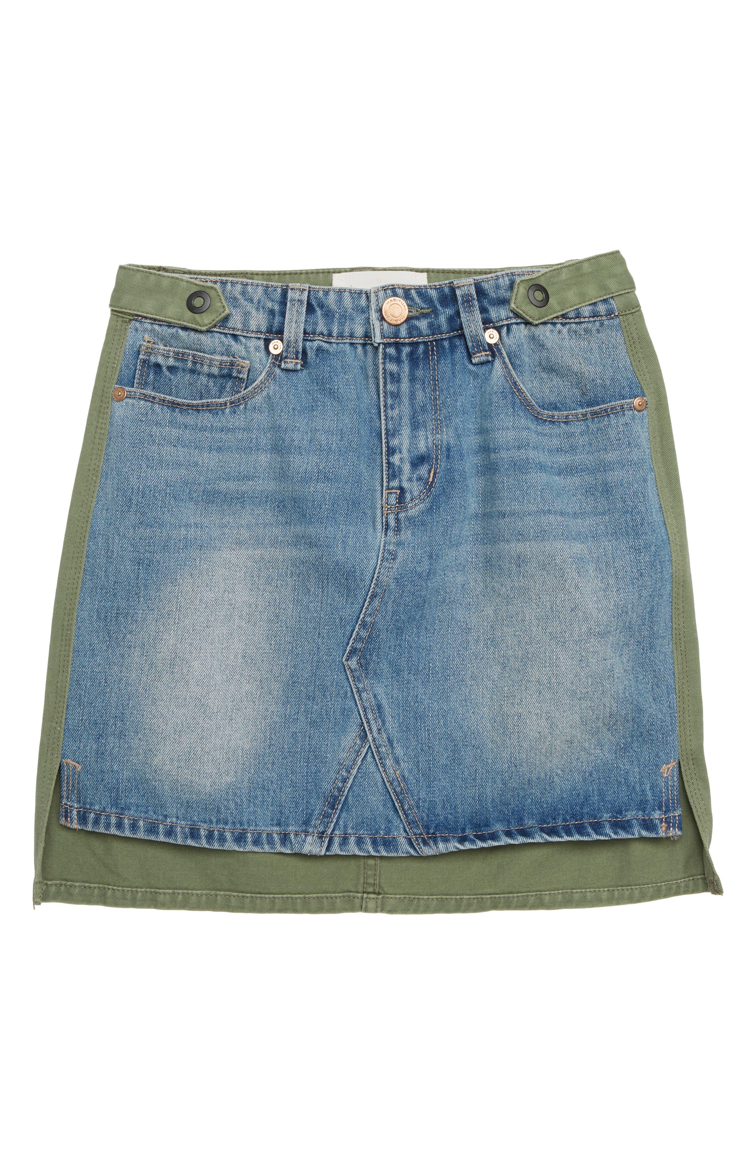 Cassia Mixed Fabric Skirt,                             Main thumbnail 1, color,                             MULTI