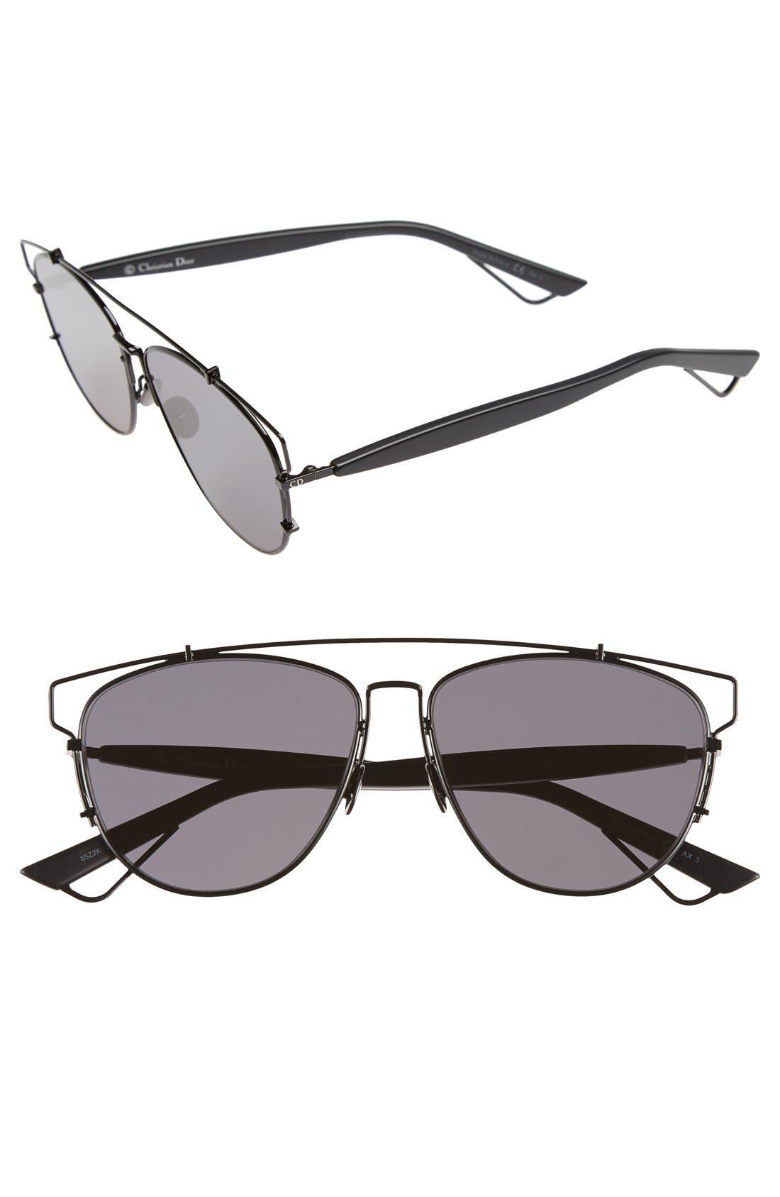 Technologic 57mm Brow Bar Sunglasses,                             Main thumbnail 4, color,