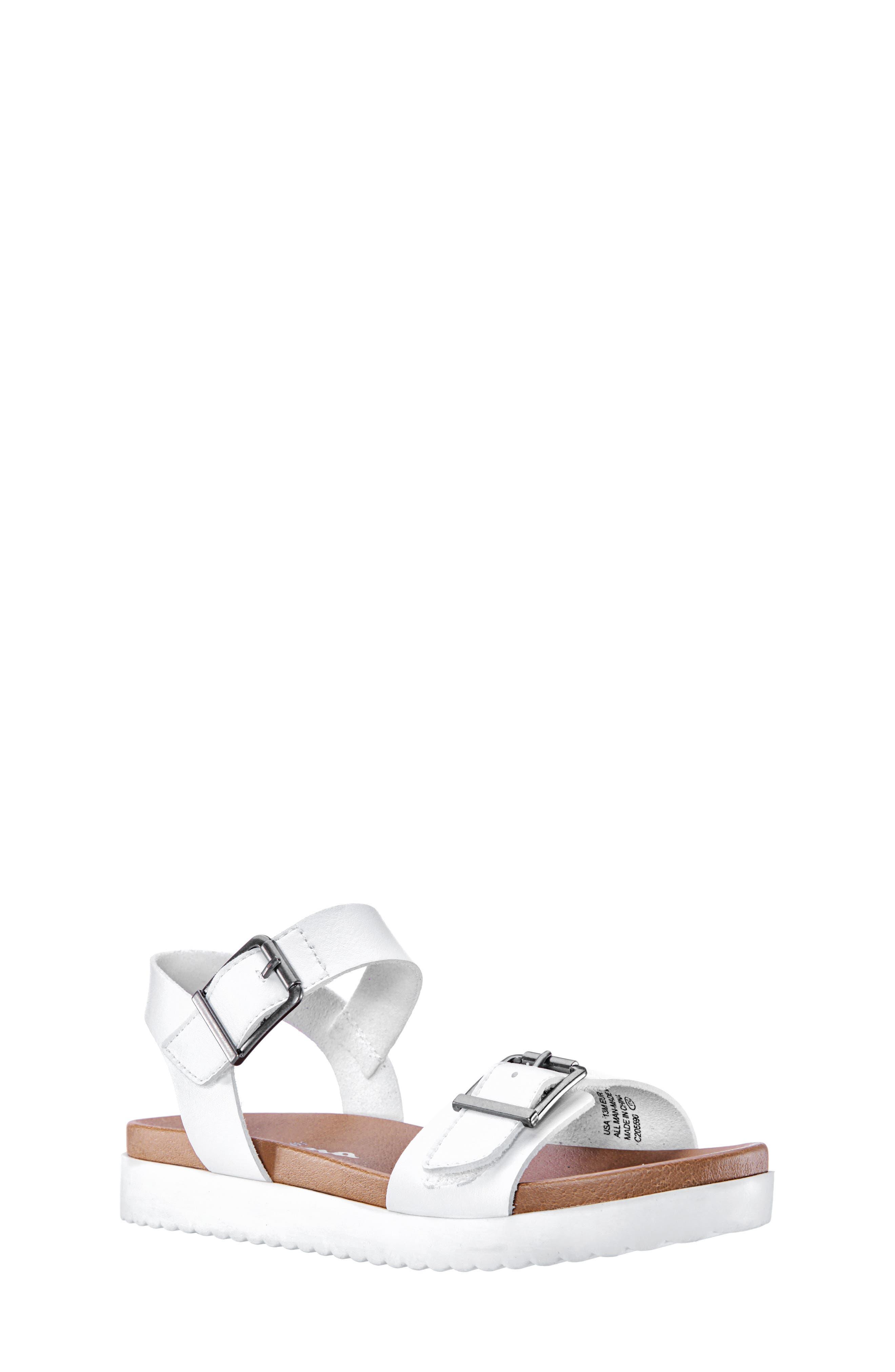 NINA,                             Jacklin3 Quarter Strap Sandal,                             Main thumbnail 1, color,                             WHITE TUMBLE