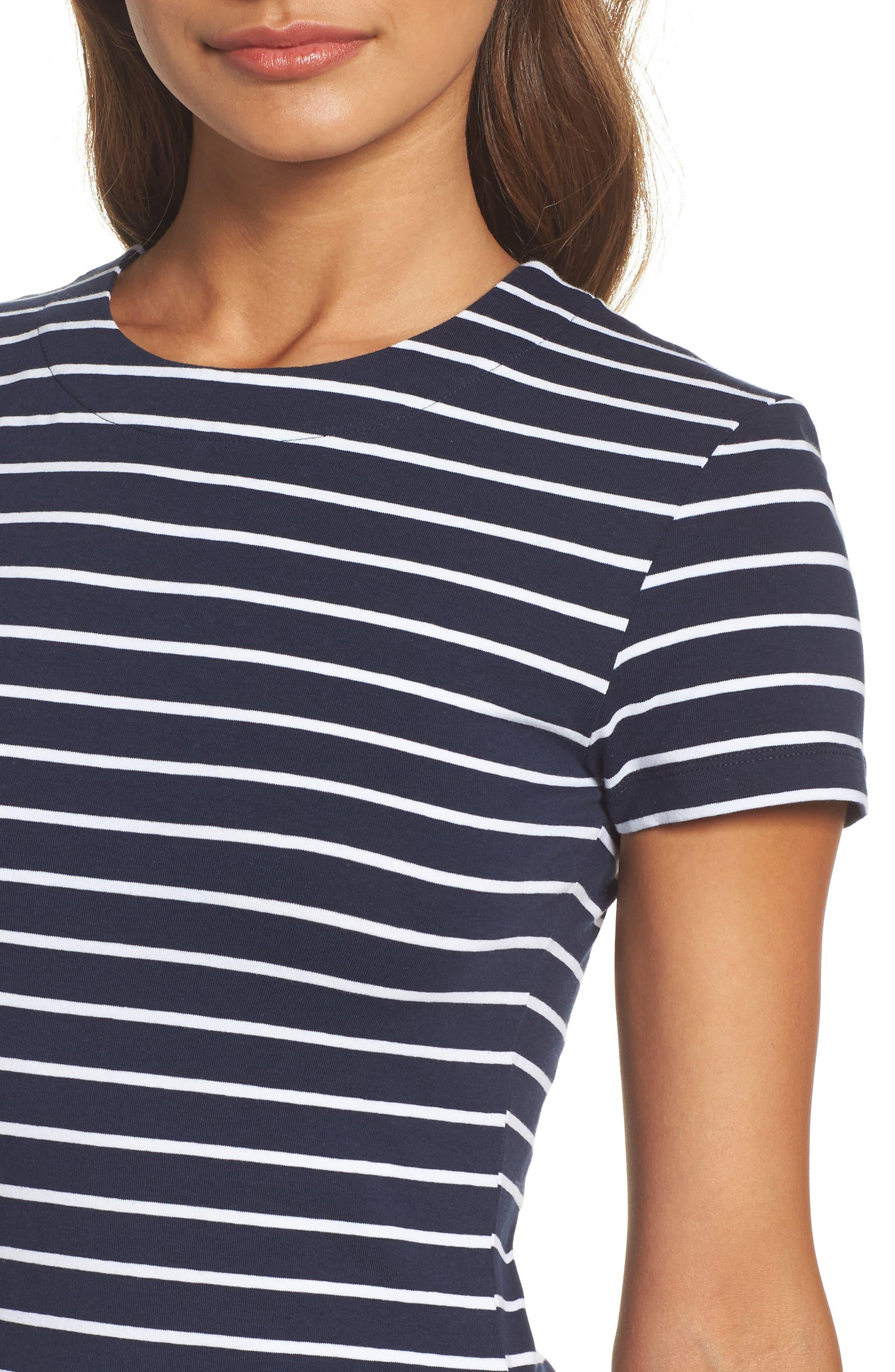 Stripe T-Shirt Dress,                             Alternate thumbnail 4, color,                             490