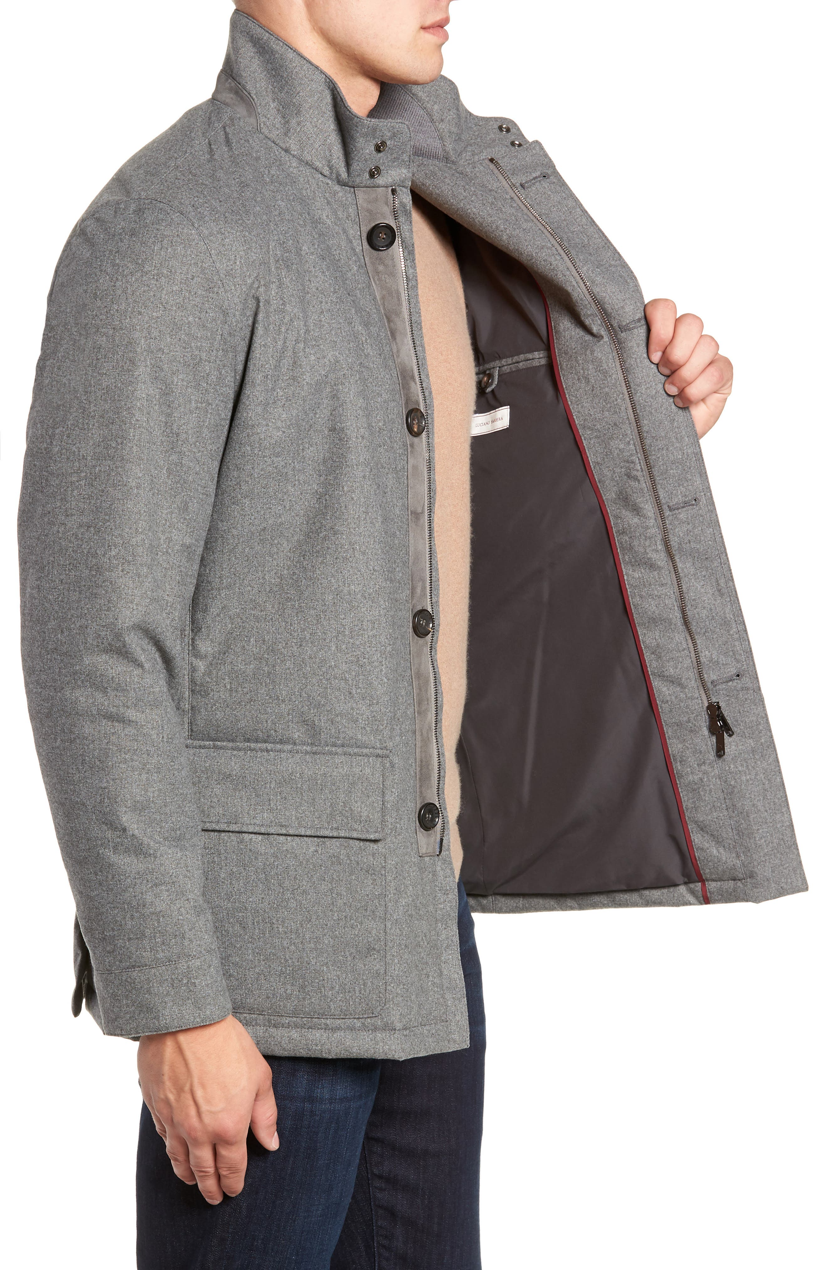 Stretch Flannel Jacket,                             Alternate thumbnail 3, color,                             GREY
