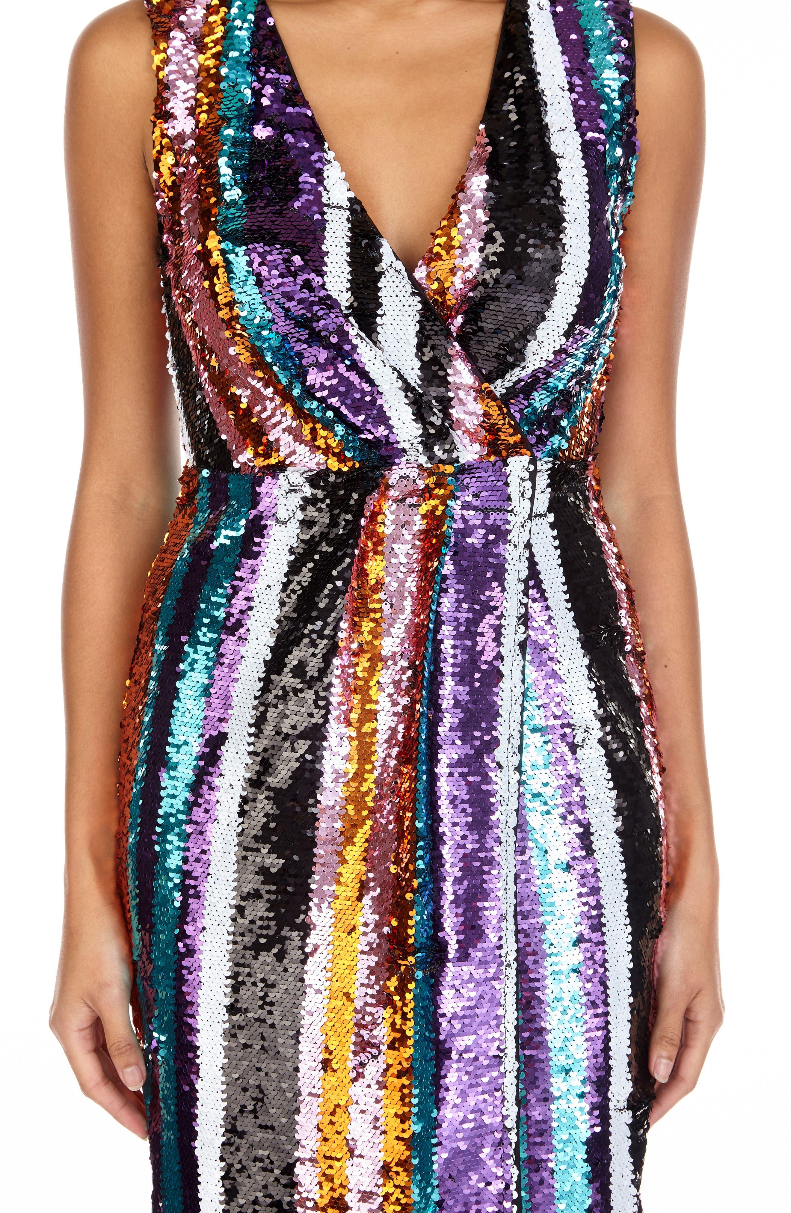 Sarah Rainbow Sequin Stripe Cocktail Sheath,                             Alternate thumbnail 3, color,                             MULTI PURPLE