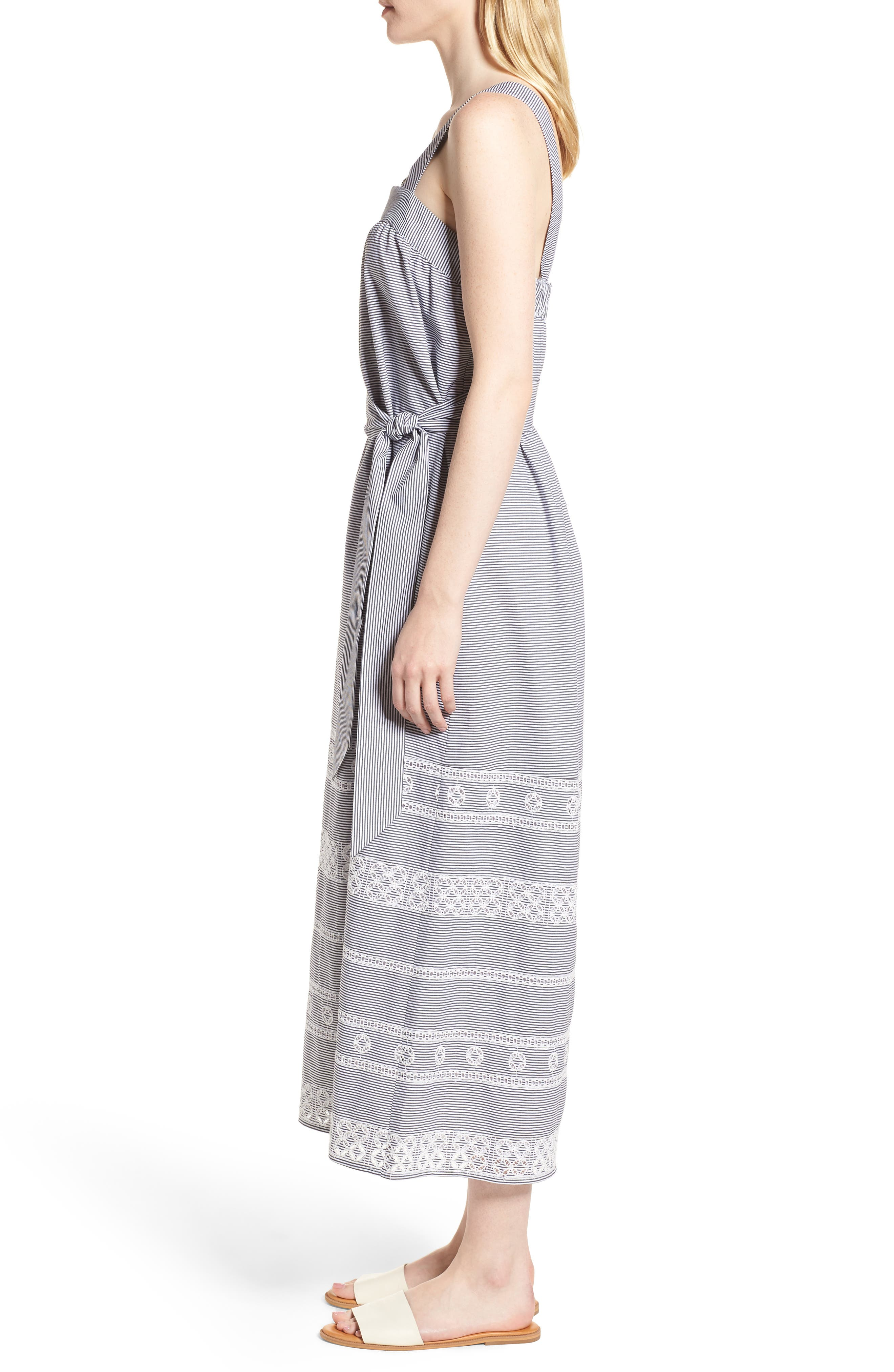 Striped Maxi Dress,                             Alternate thumbnail 3, color,                             002