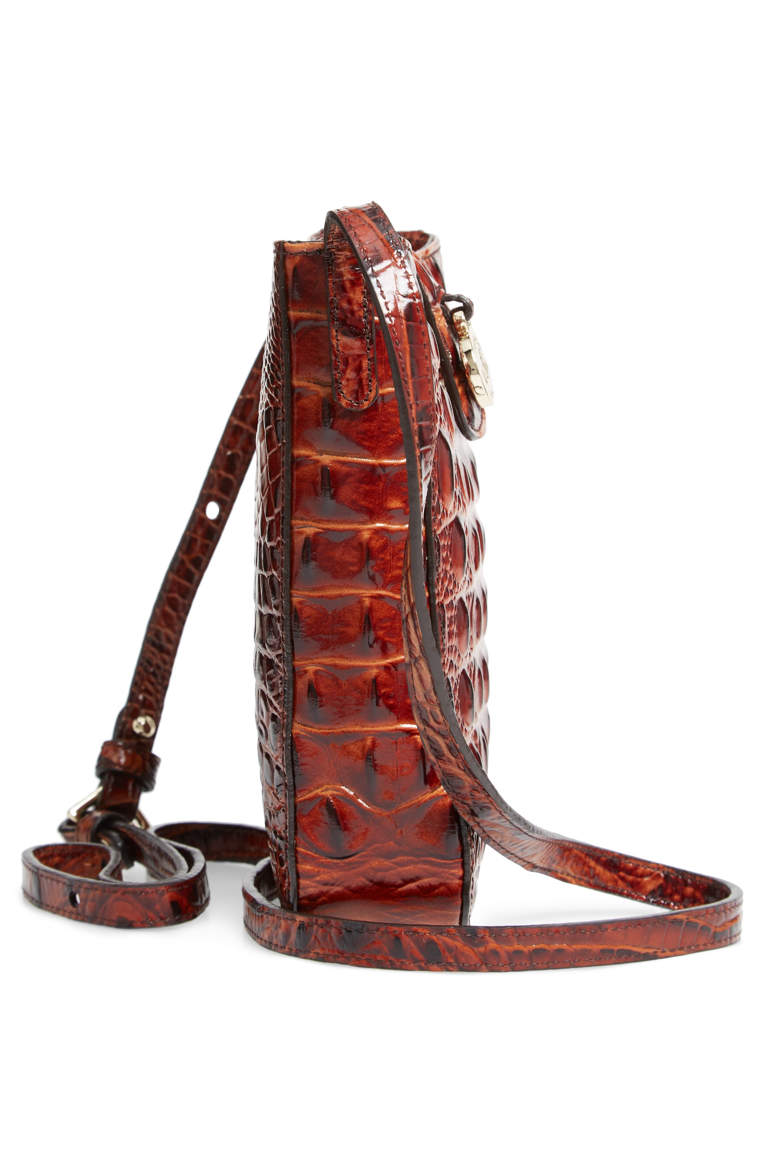 Marley Croc Embossed Leather Crossbody Bag,                             Alternate thumbnail 5, color,                             PECAN