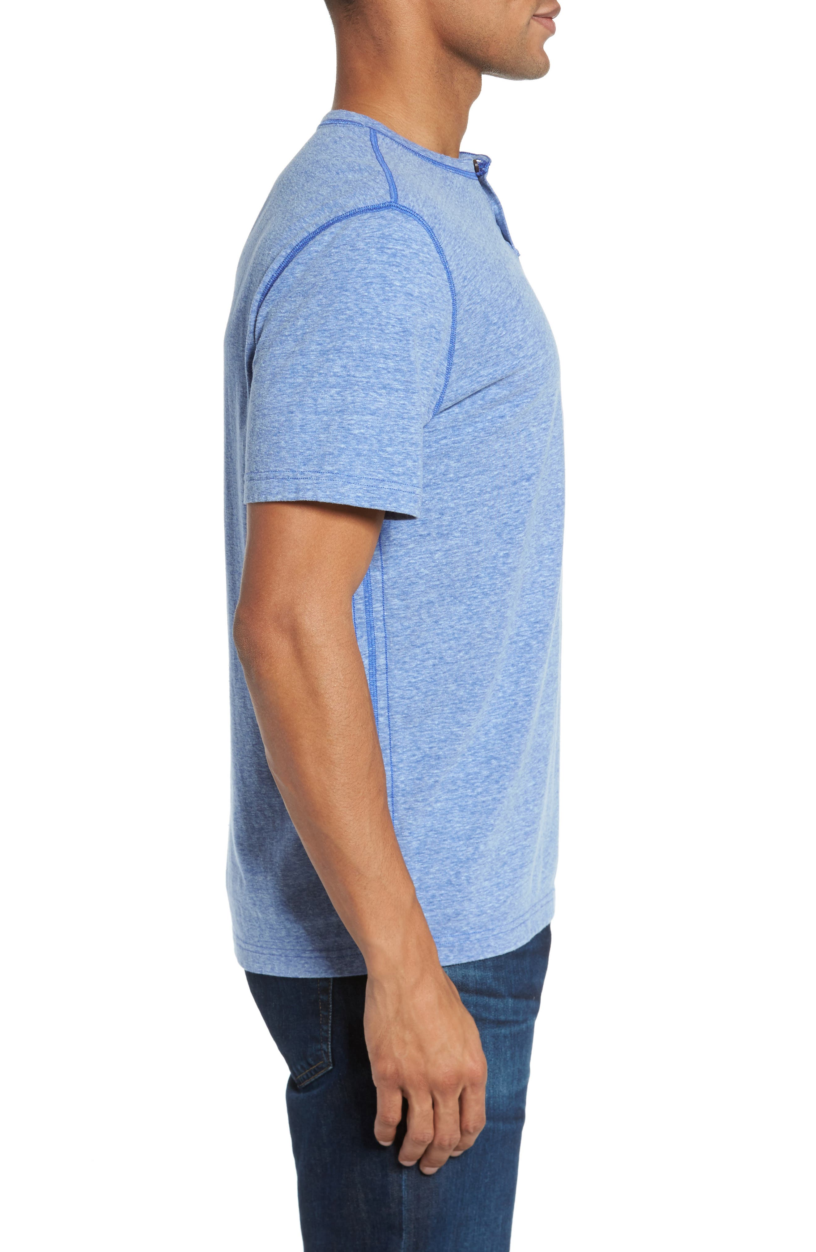 Heathered Short Sleeve Henley,                             Alternate thumbnail 3, color,                             431