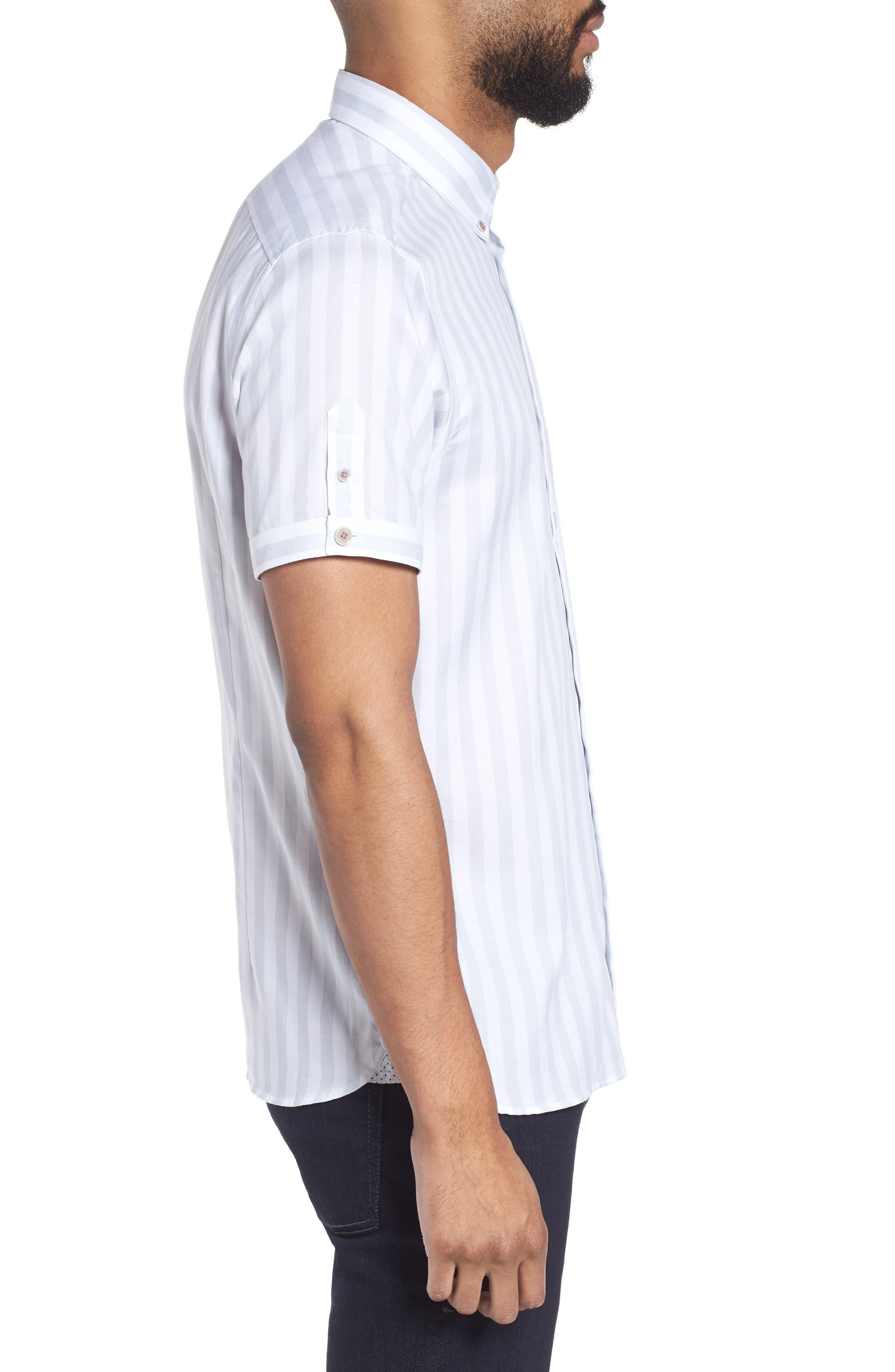 TED BAKER LONDON,                             Vertical Stripe Trim Fit Short Sleeve Sport Shirt,                             Alternate thumbnail 3, color,                             311