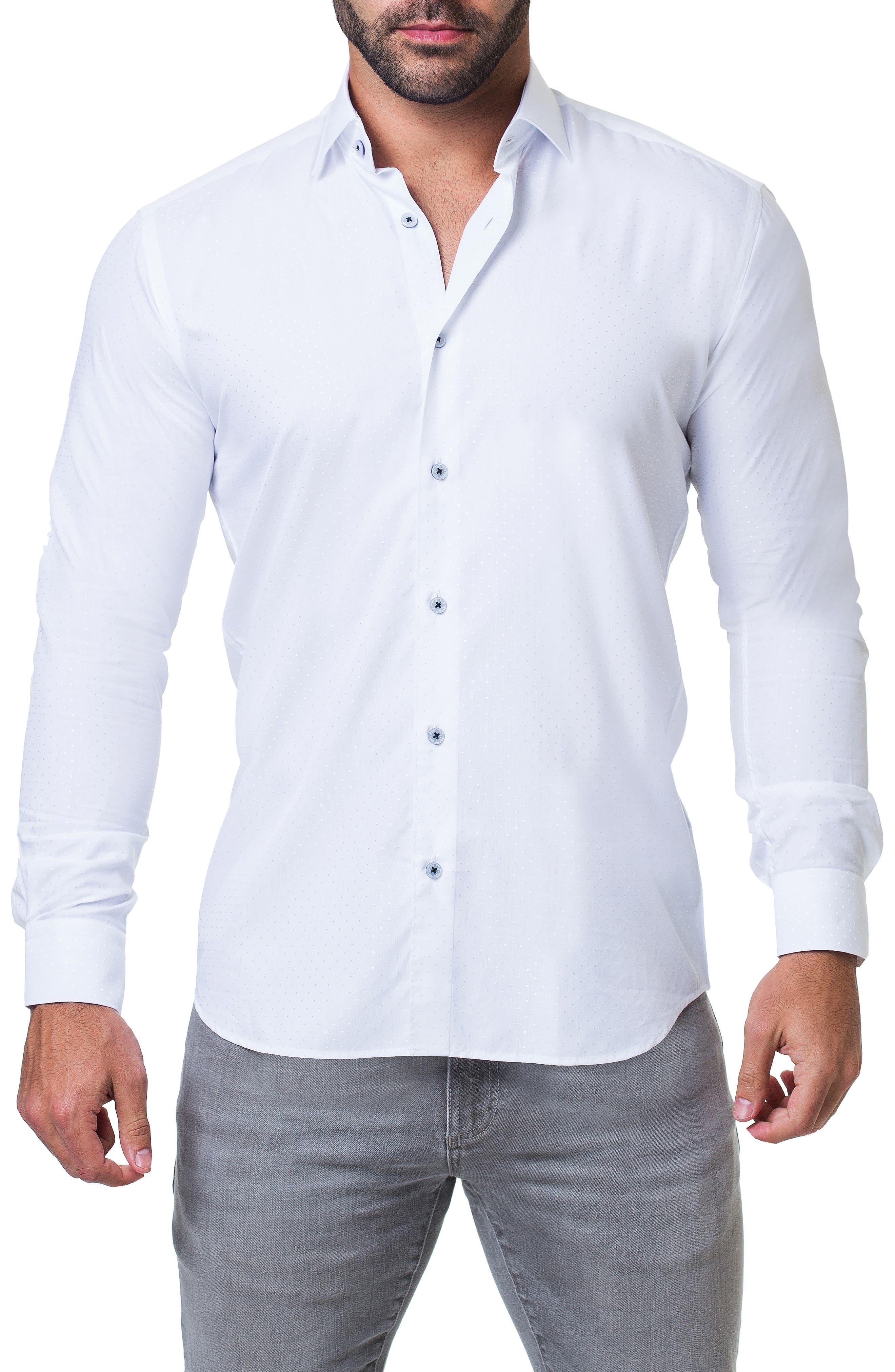 Fibonacci Trim Fit Sparkle Dot Sport Shirt,                             Main thumbnail 1, color,                             WHITE