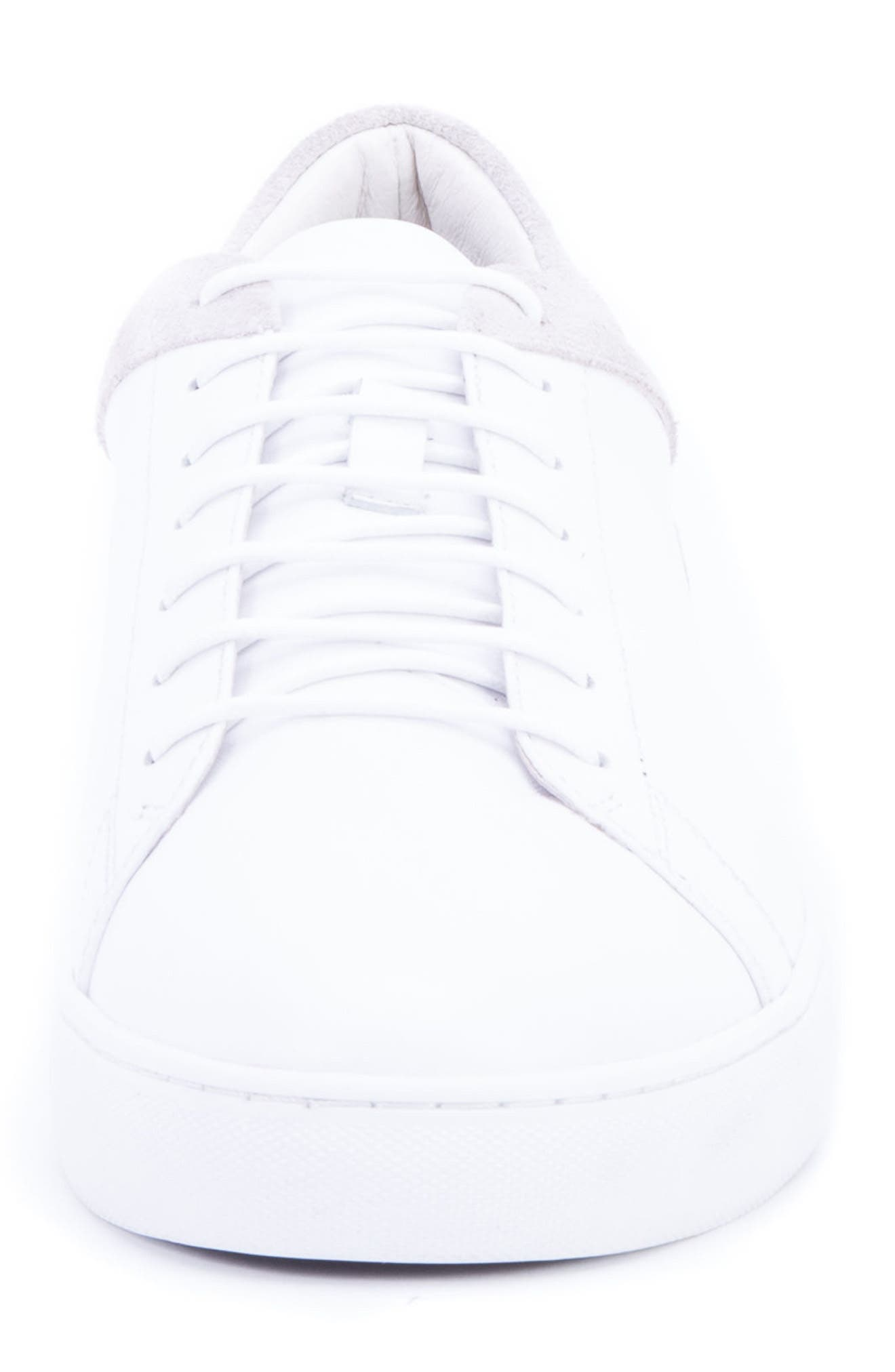Cue Low Top Sneaker,                             Alternate thumbnail 4, color,                             WHITE LEATHER/ SUEDE