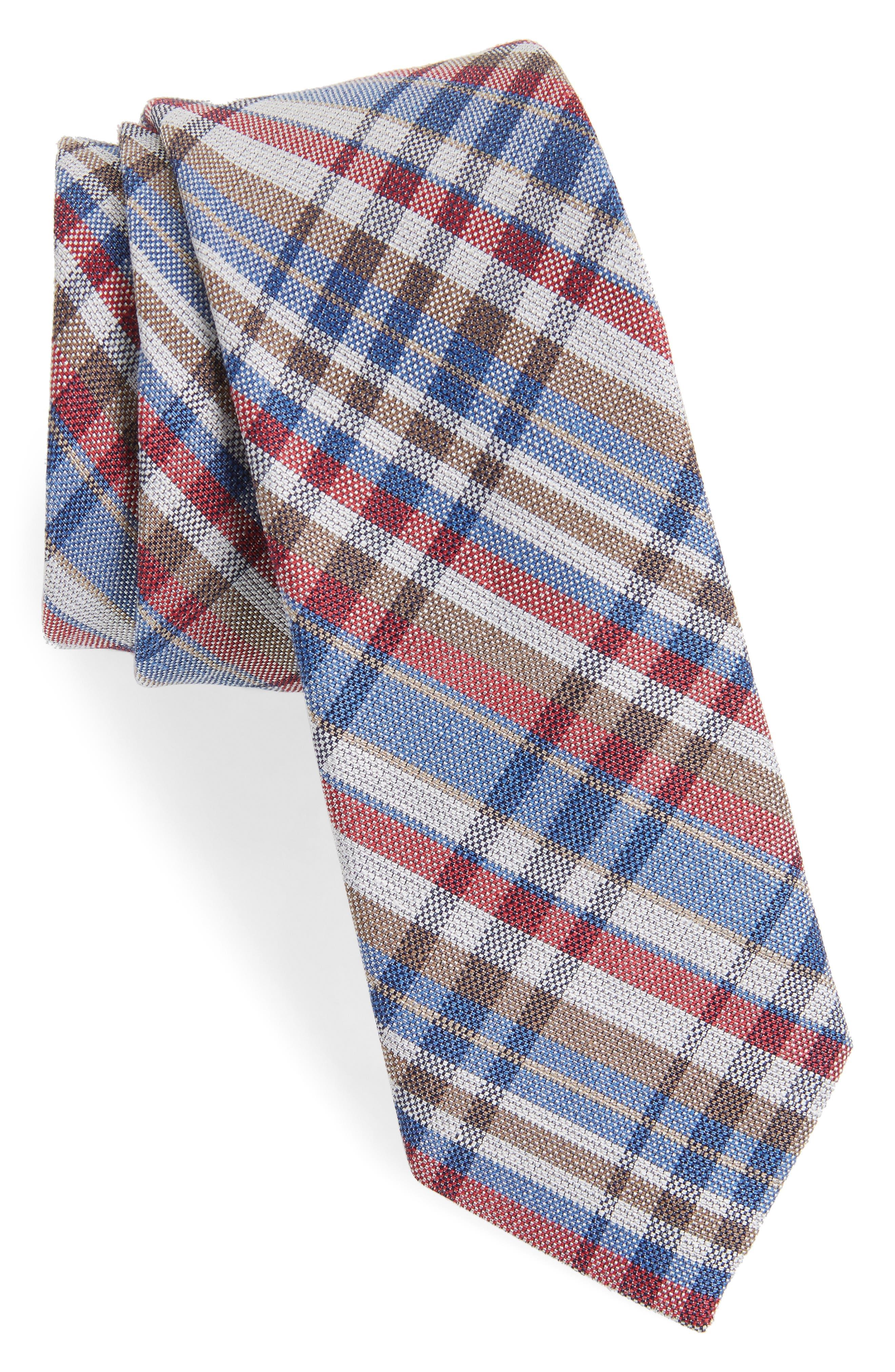 Donelly Plaid Linen & Silk Tie,                         Main,                         color, BLUE