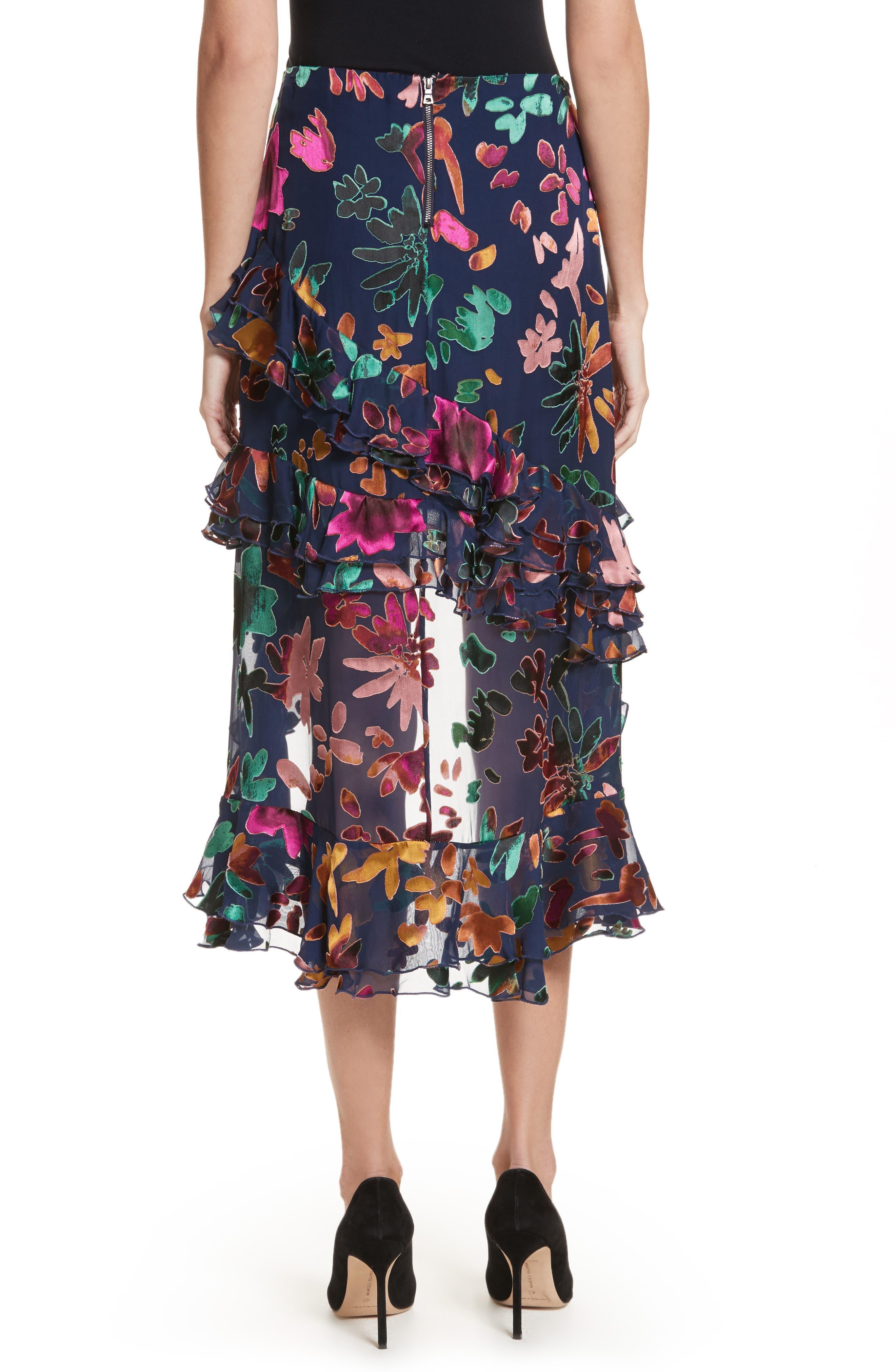 Sasha Asymmetrical Tiered Ruffle Skirt,                             Alternate thumbnail 2, color,                             471