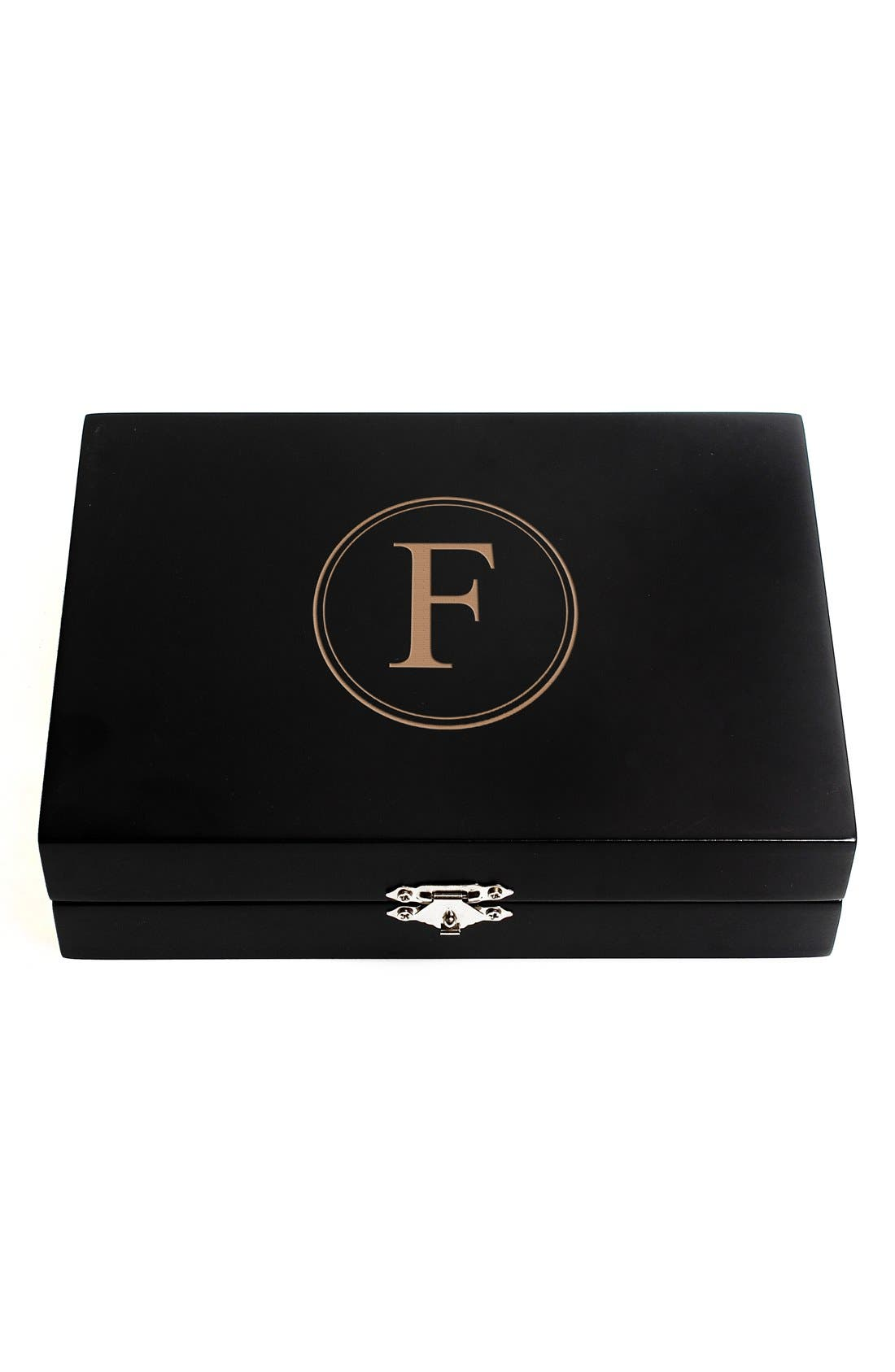 Monogram Wooden Jewelry Box,                             Main thumbnail 8, color,