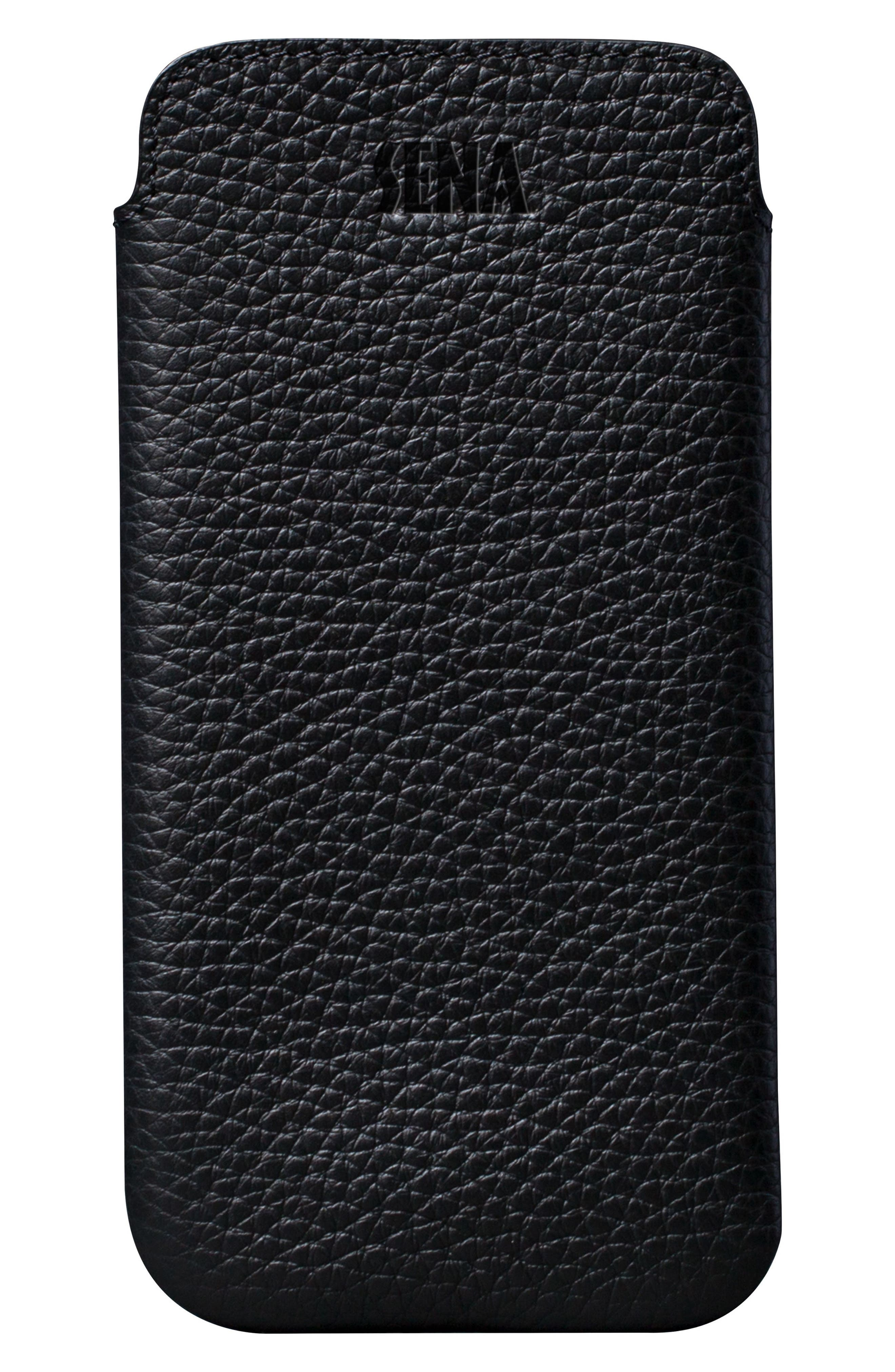 Ultraslim iPhone X & Xs Leather Sleeve,                             Main thumbnail 1, color,                             BLACK