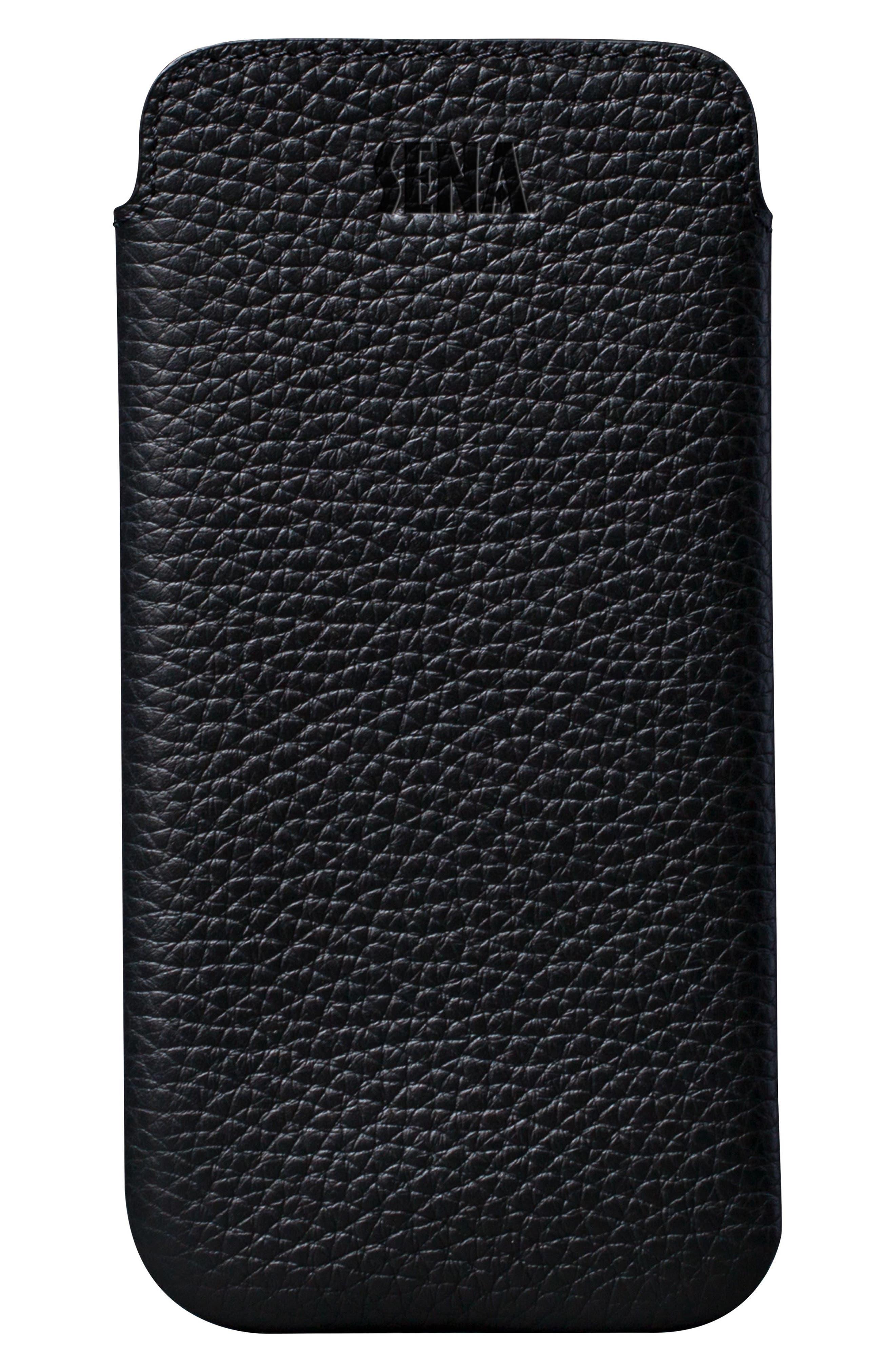 Ultraslim iPhone X & Xs Leather Sleeve,                         Main,                         color, BLACK