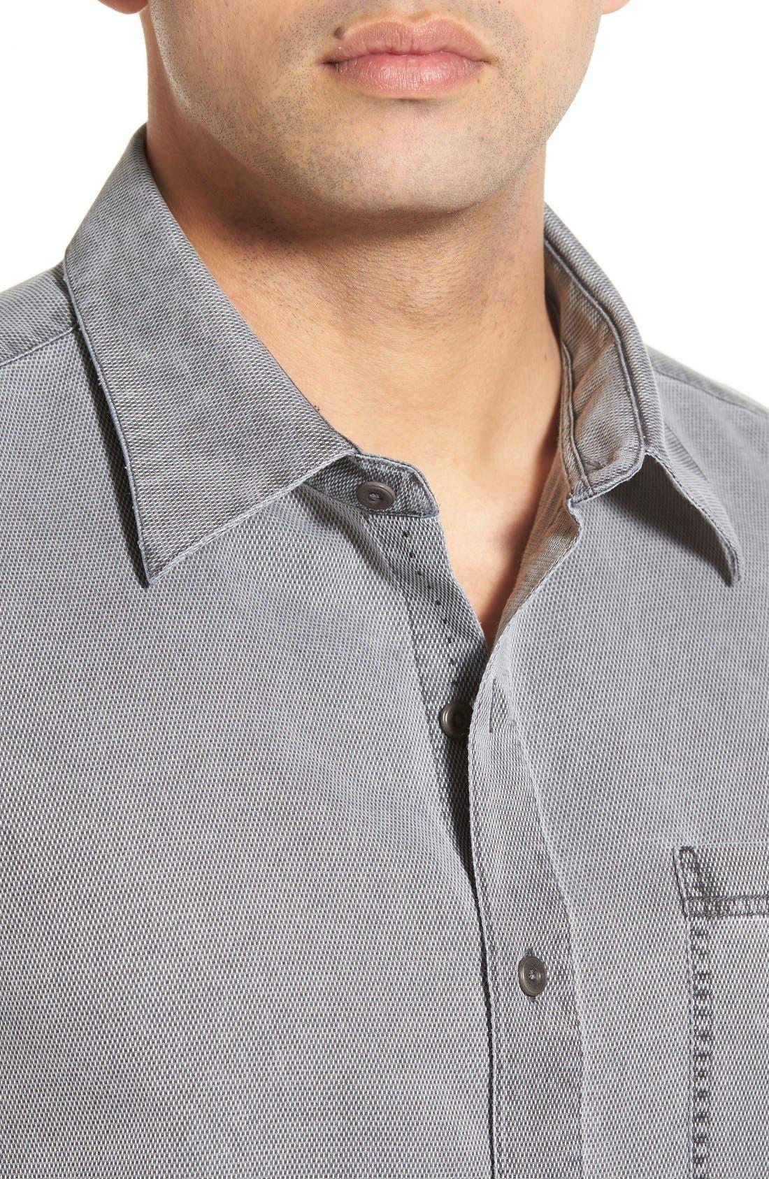 'Havana Cloth' Regular Fit Short Sleeve Silk & Cotton Sport Shirt,                             Alternate thumbnail 3, color,                             BLACK