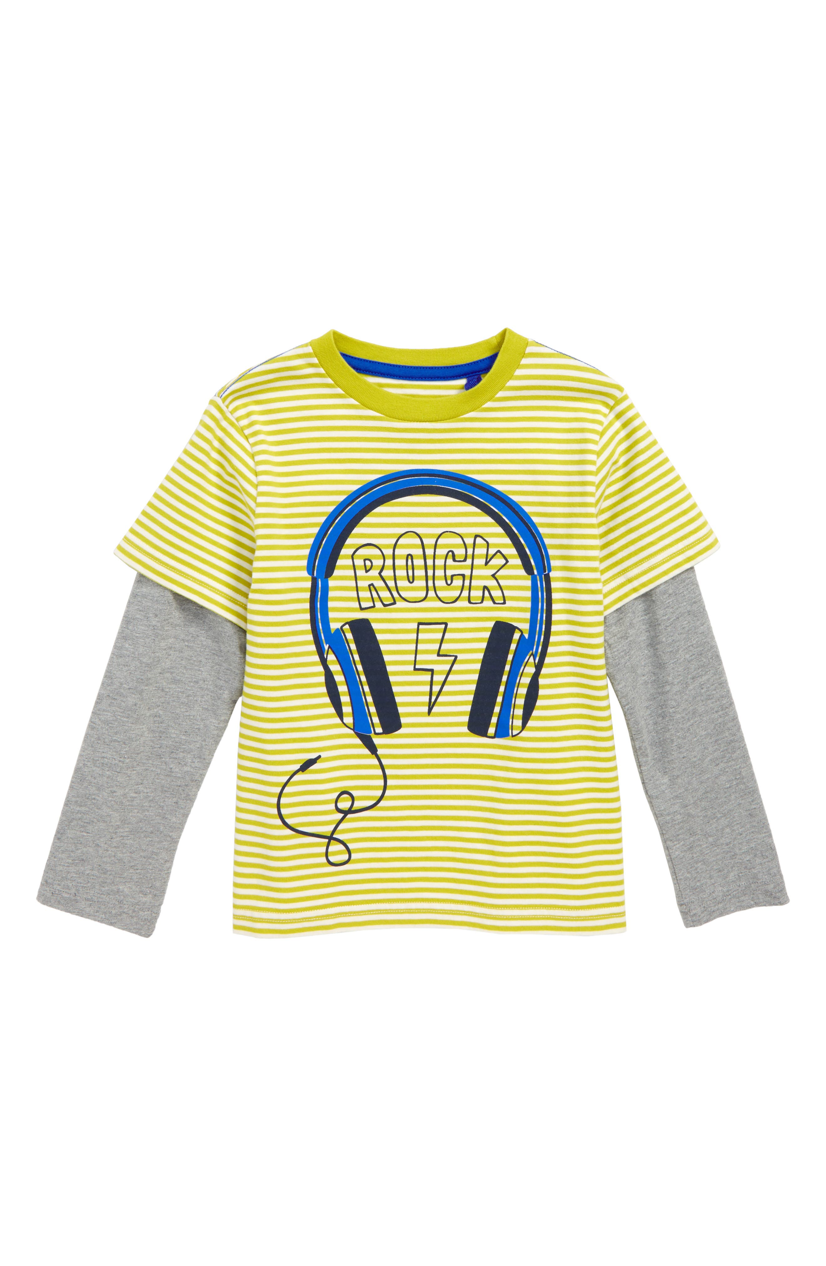 Stripy Music T-Shirt,                         Main,                         color, LIME GREEN/ ECRU