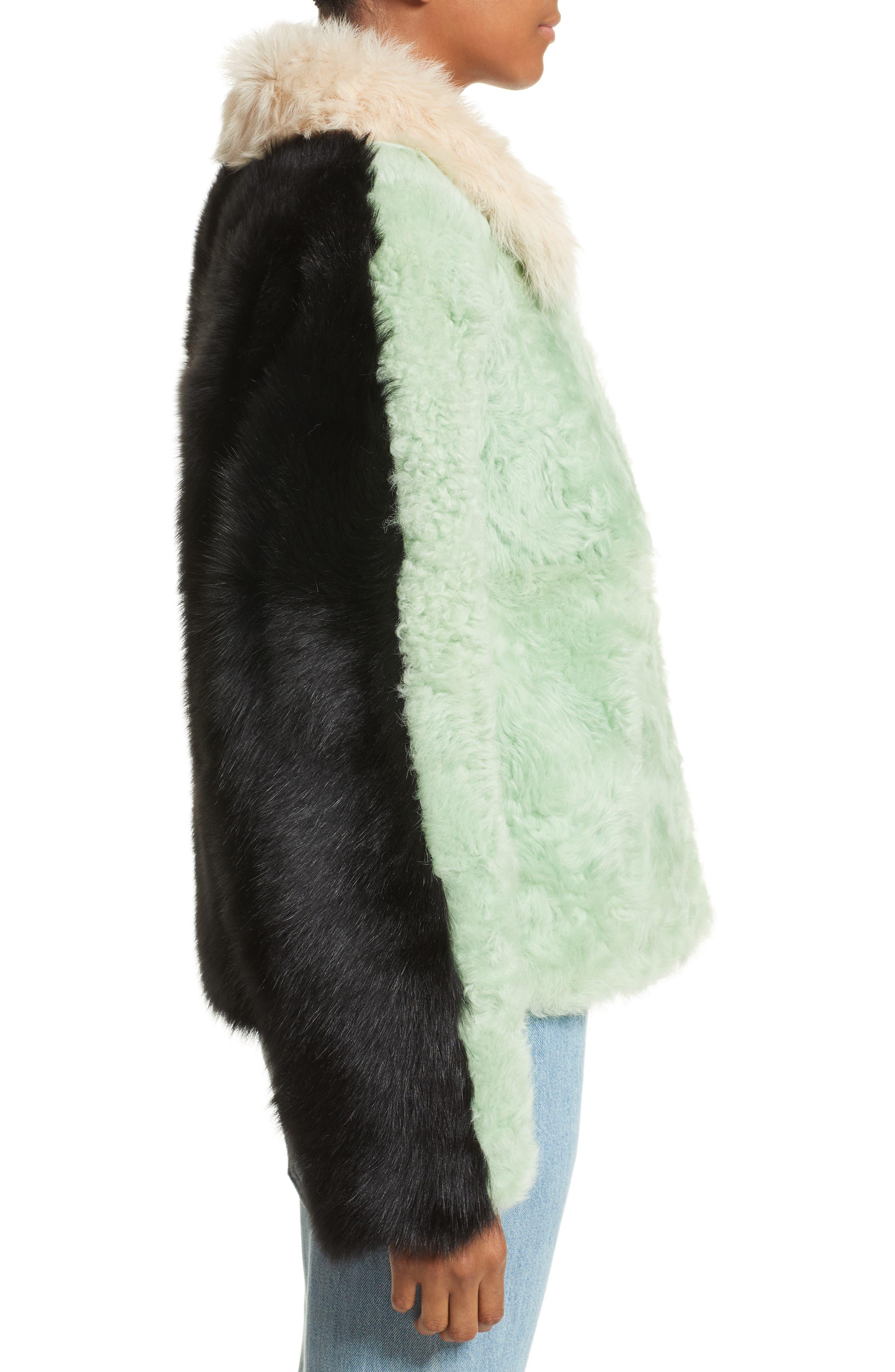 Cashew Genuine Shearling Coat,                             Alternate thumbnail 4, color,