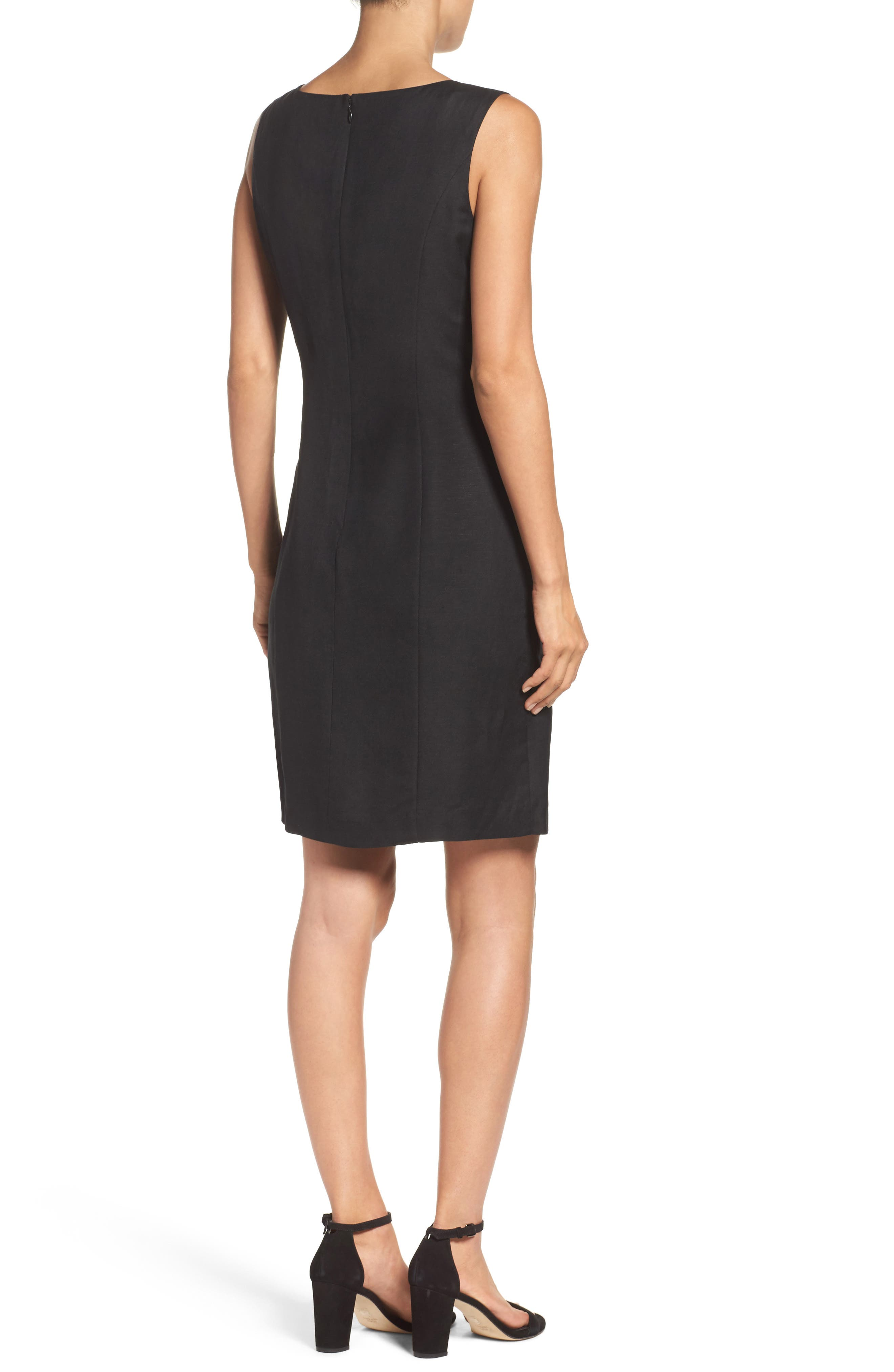 Embroidered Neck Sheath Dress,                             Alternate thumbnail 2, color,                             001