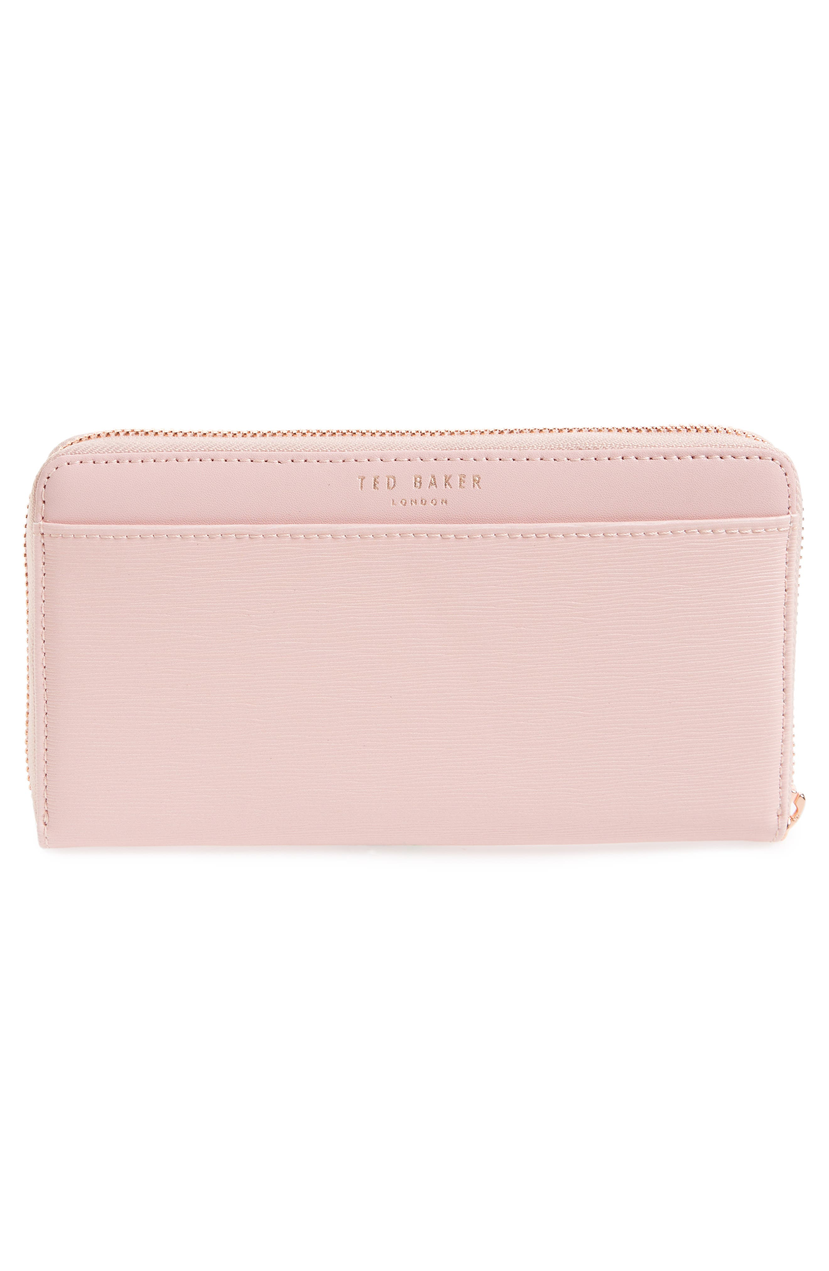 Minal Zip Around Matinee Wallet,                             Alternate thumbnail 3, color,                             DUSKY PINK