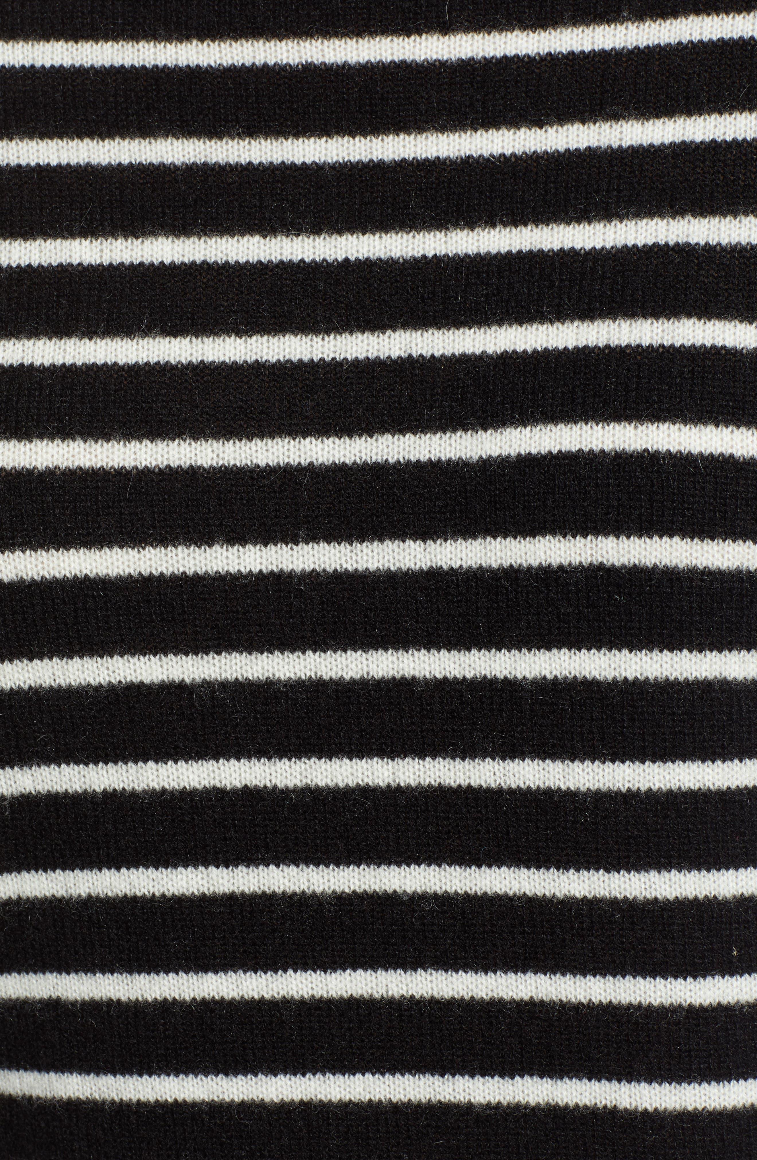 Cashmere Turtleneck Sweater,                             Alternate thumbnail 5, color,                             BLACK- IVORY STRIPE