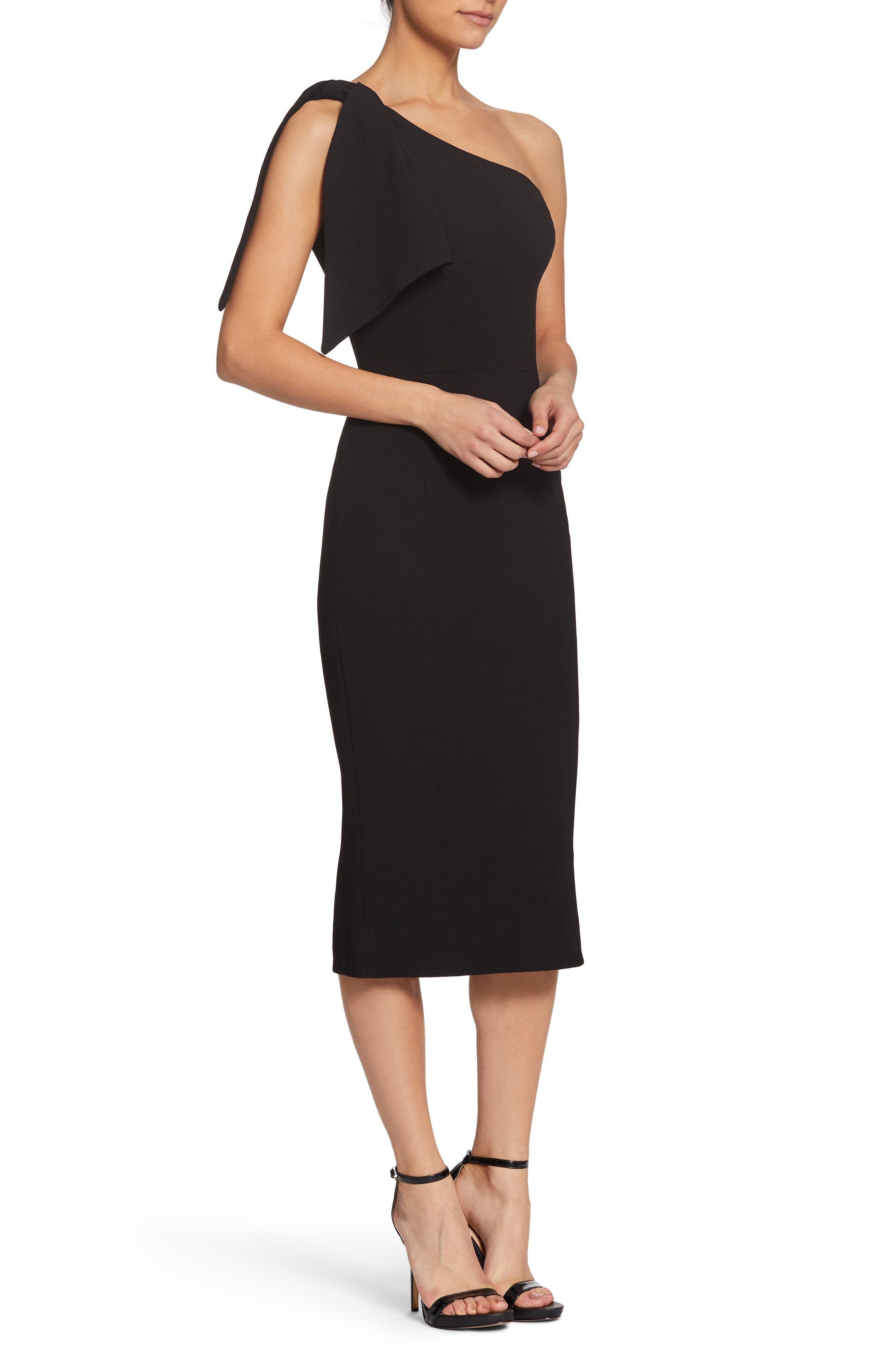 Tiffany One-Shoulder Midi Dress,                             Alternate thumbnail 3, color,                             BLACK
