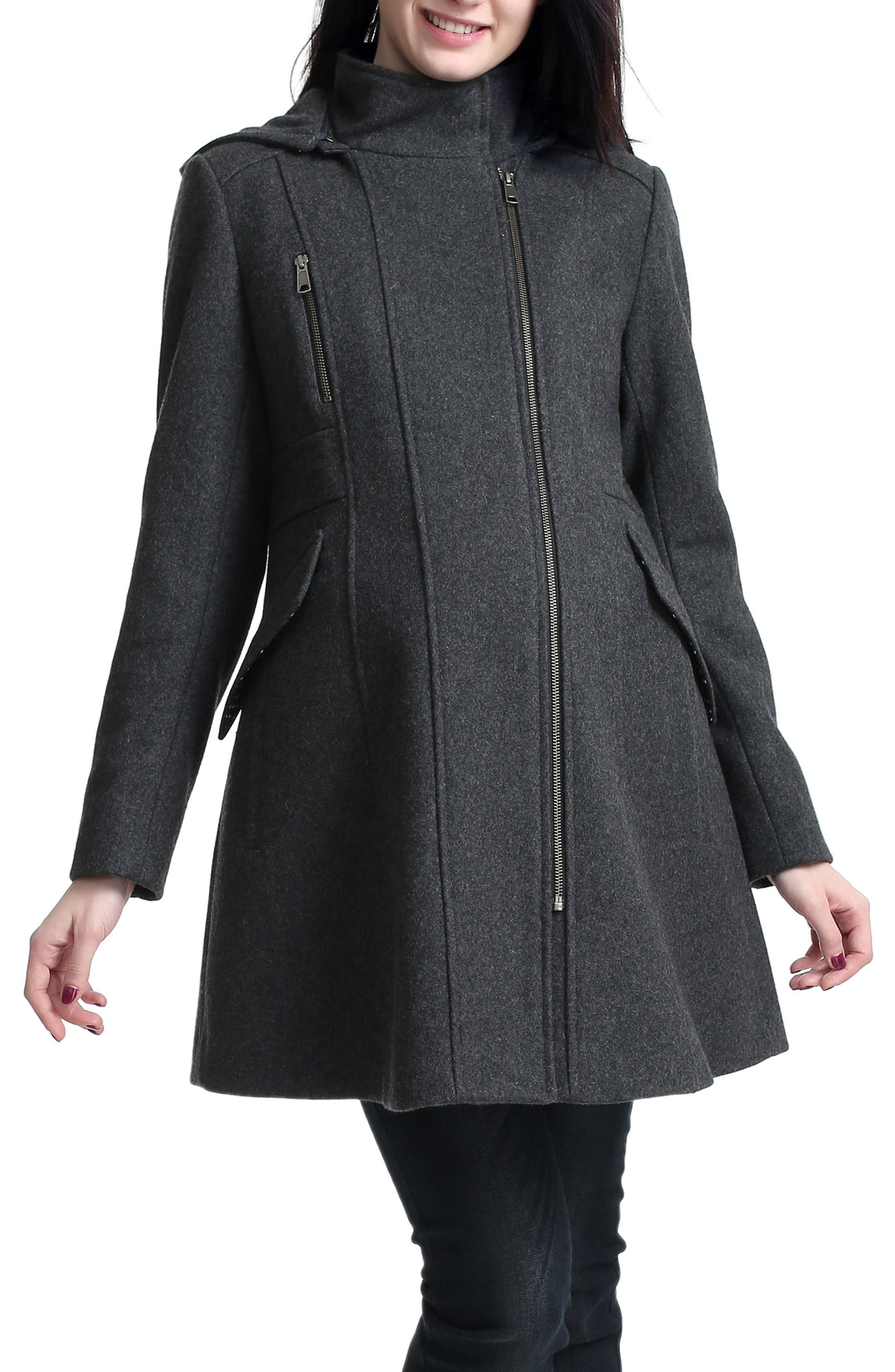 Cordella Wool Blend Hooded Maternity Coat,                             Main thumbnail 1, color,                             DARK HEATHER GRAY