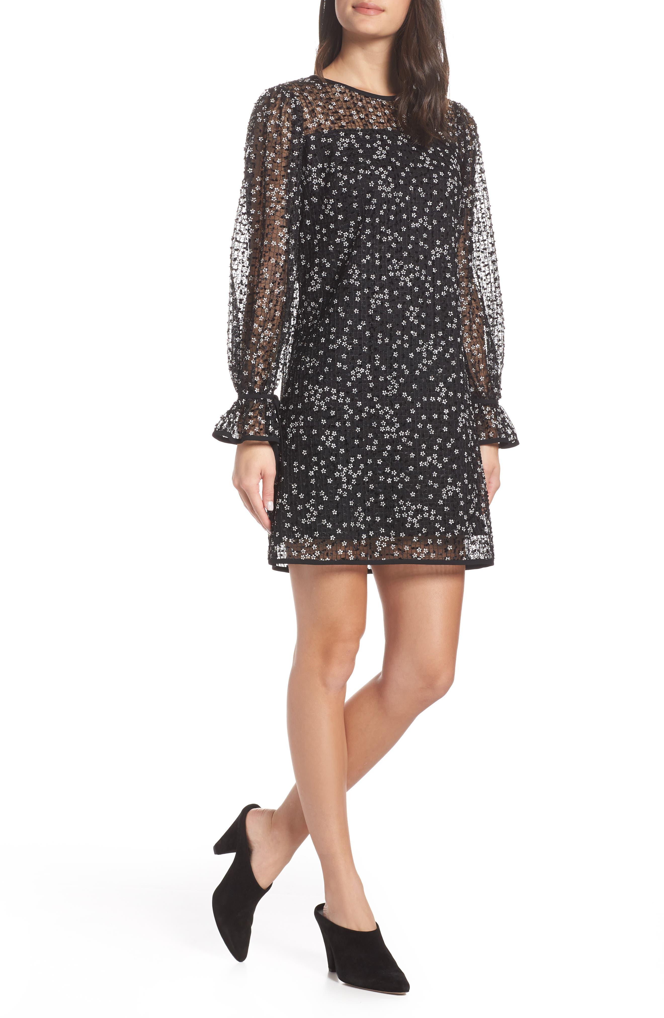 Chelsea28 Floral Grid Shift Dress, Black