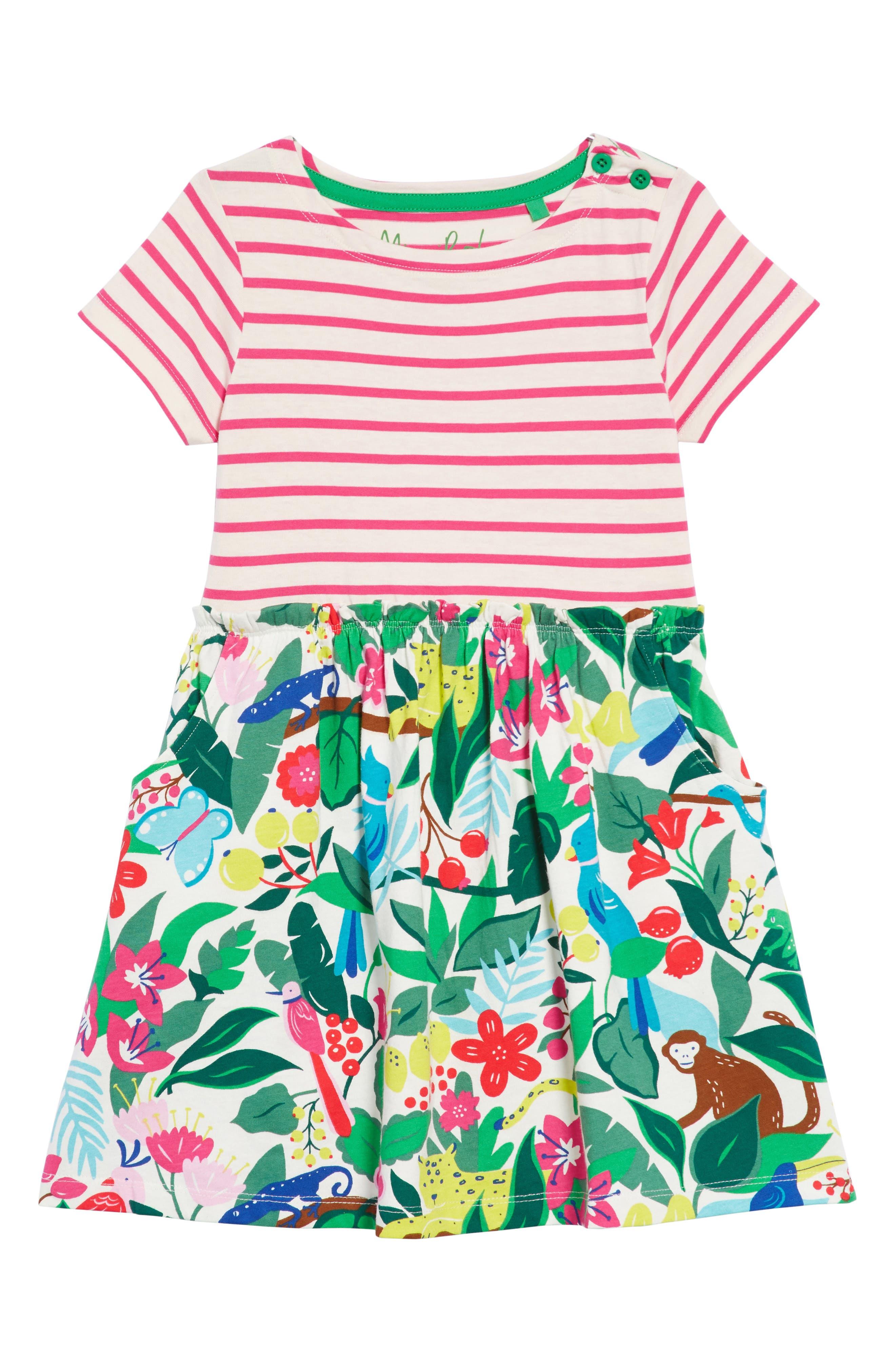 MINI BODEN Bright Hotchpotch Jersey Dress, Main, color, 901