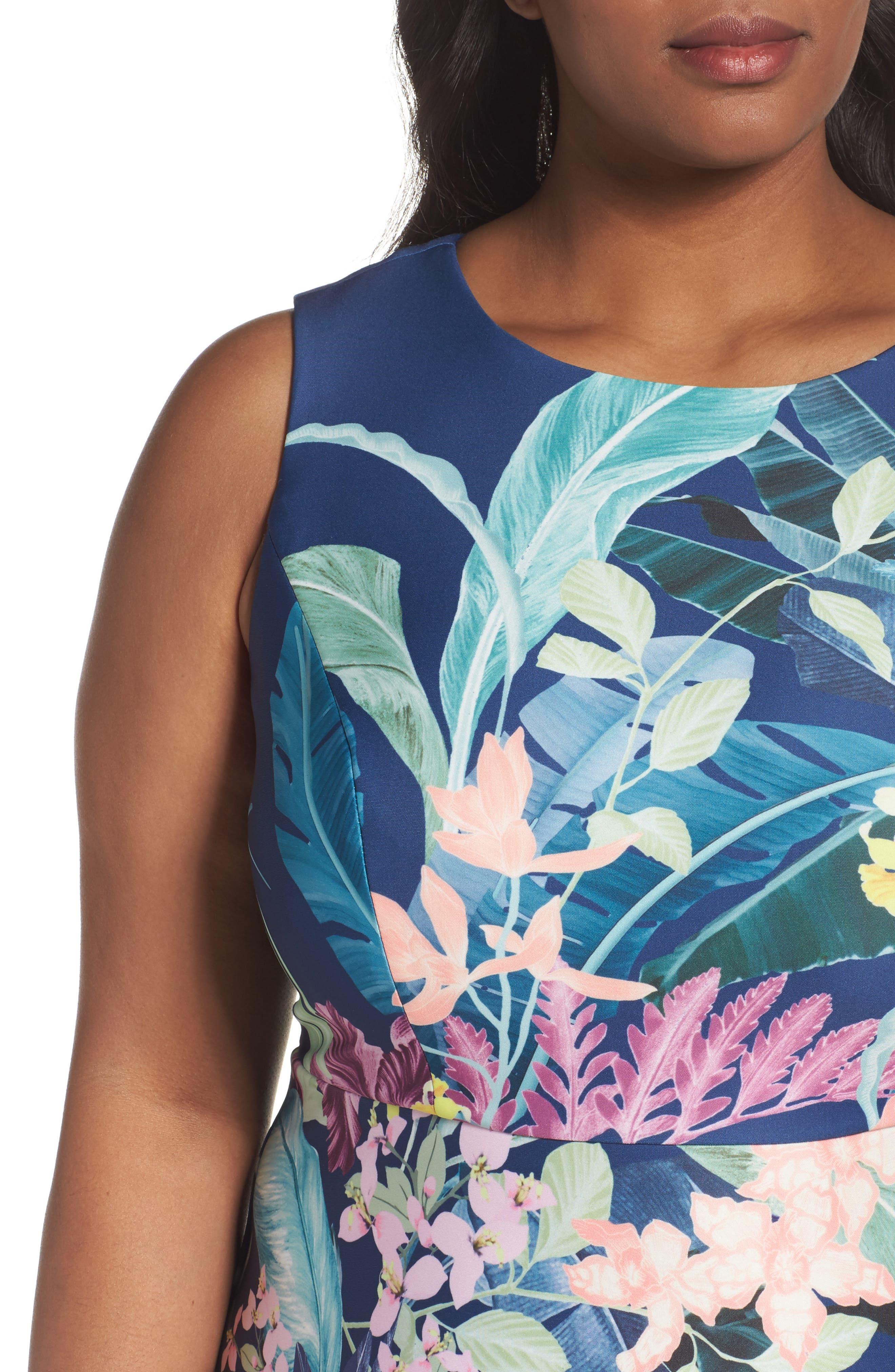 Scuba Fit & Flare Dress,                             Alternate thumbnail 4, color,                             480