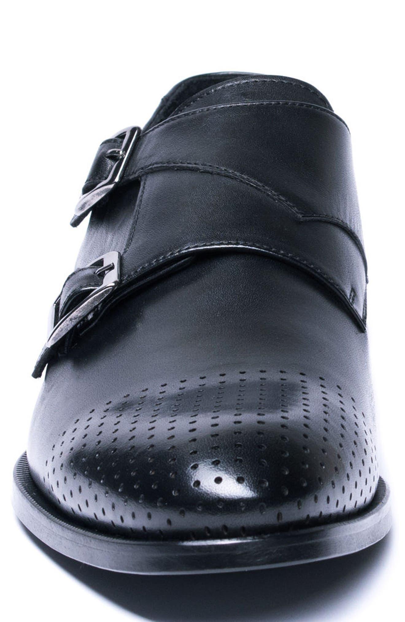 Double Buckle Monk Shoe,                             Alternate thumbnail 4, color,                             BLACK LEATHER