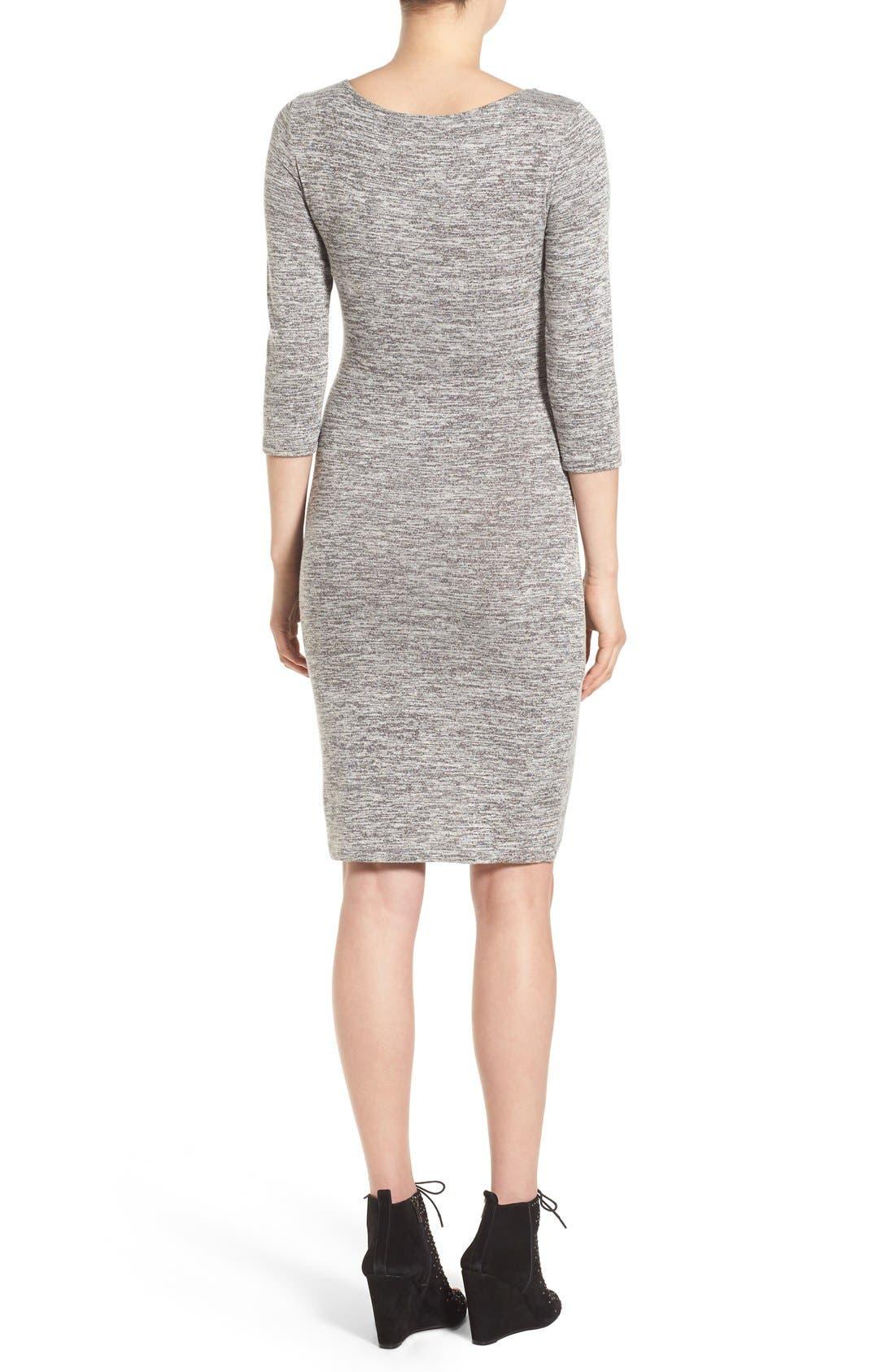 V-Neck Ruched Dress,                             Alternate thumbnail 3, color,                             035