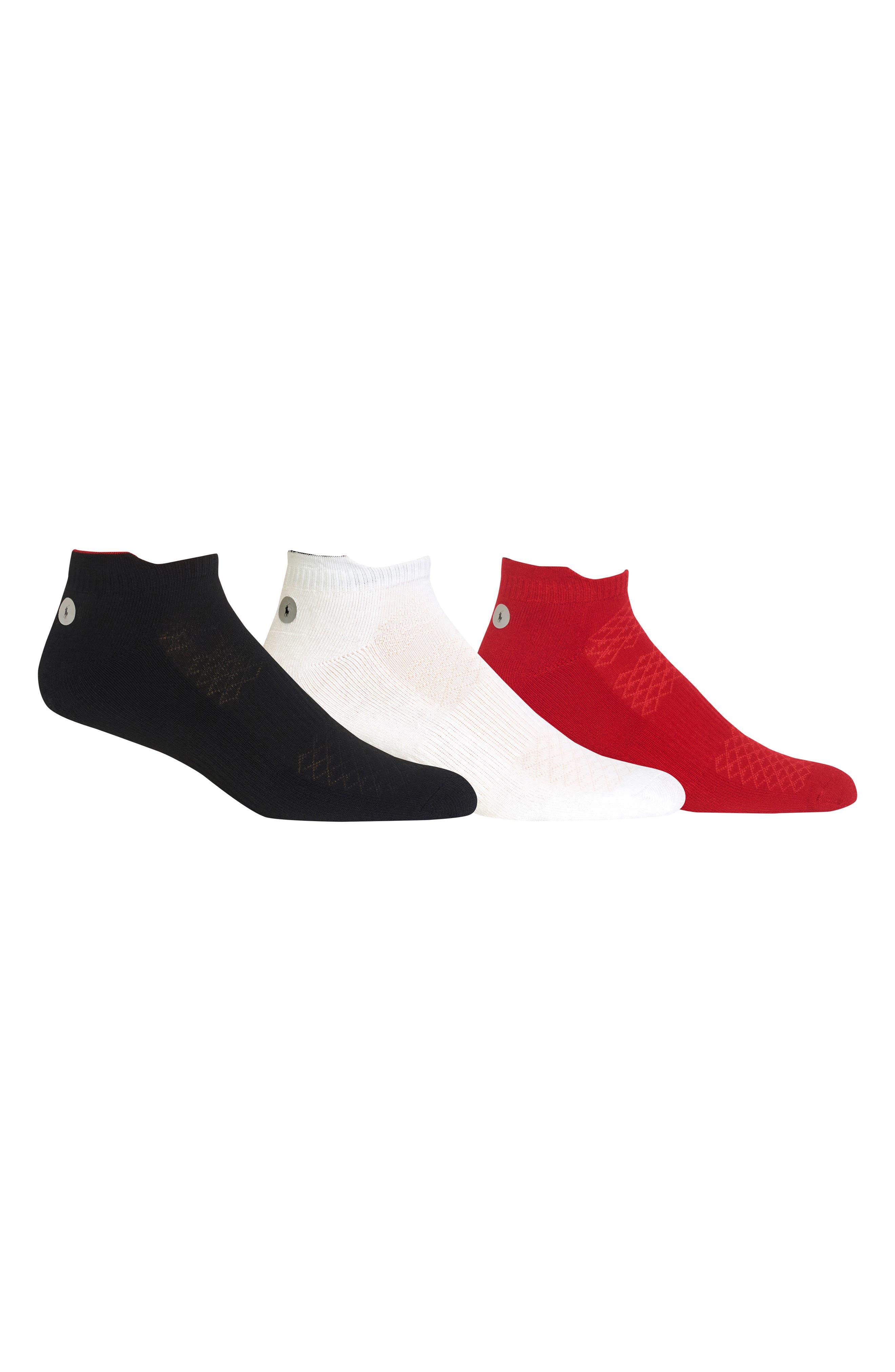 3-Pack Reflector Ankle Socks,                             Main thumbnail 1, color,                             BLACK MULTI