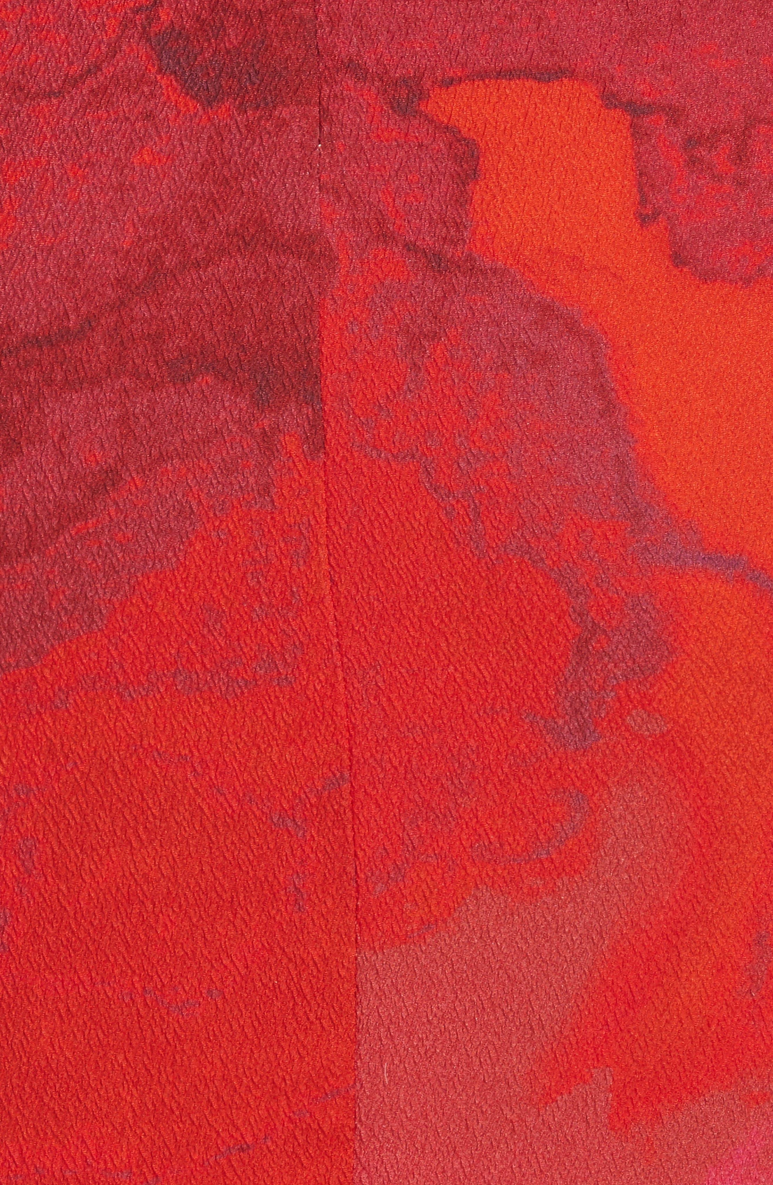 Abstract Print Stretch Silk Sheath Dress,                             Alternate thumbnail 5, color,                             605