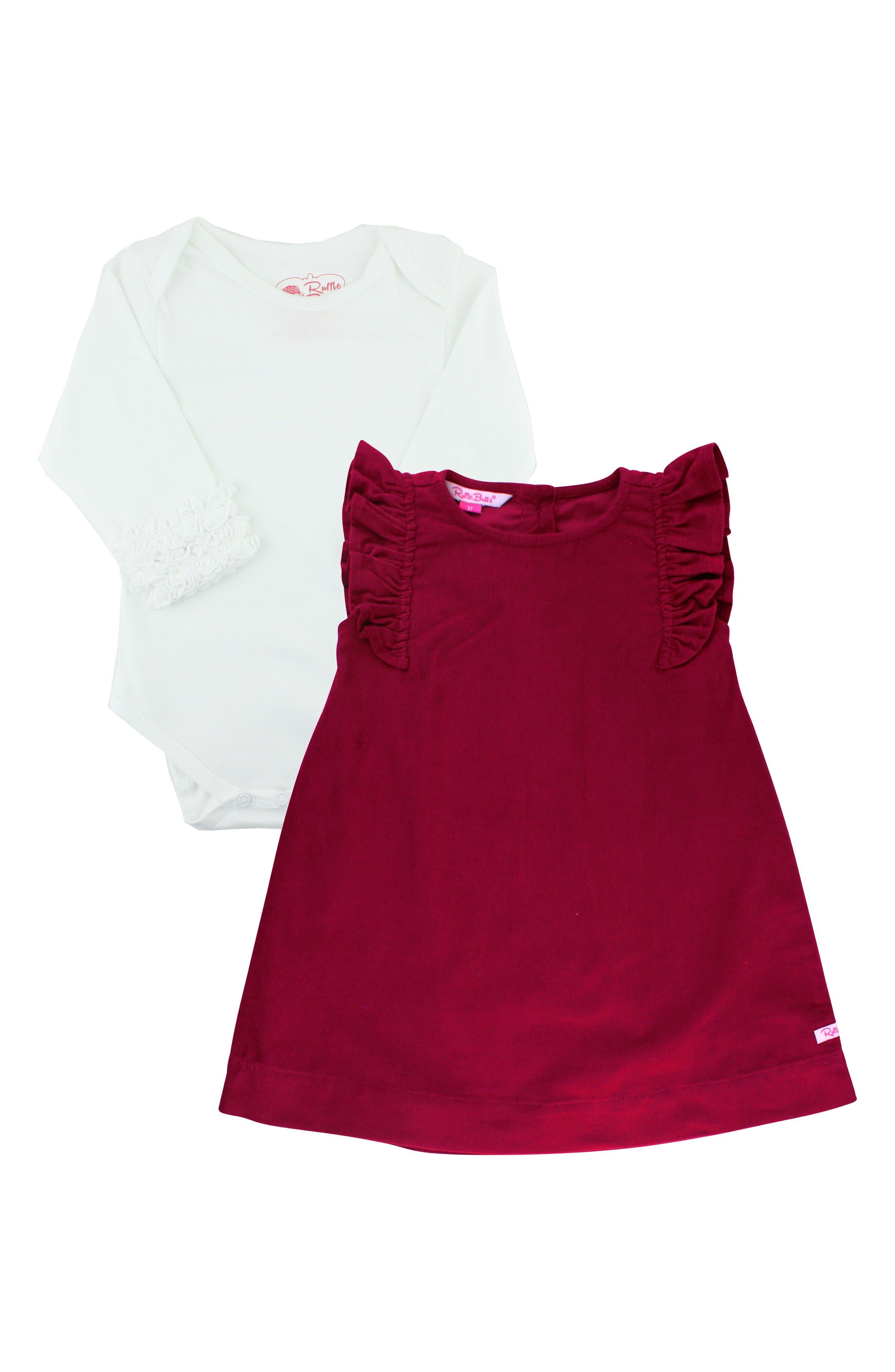 Bodysuit & Corduroy Dress Set,                         Main,                         color, DARK RED