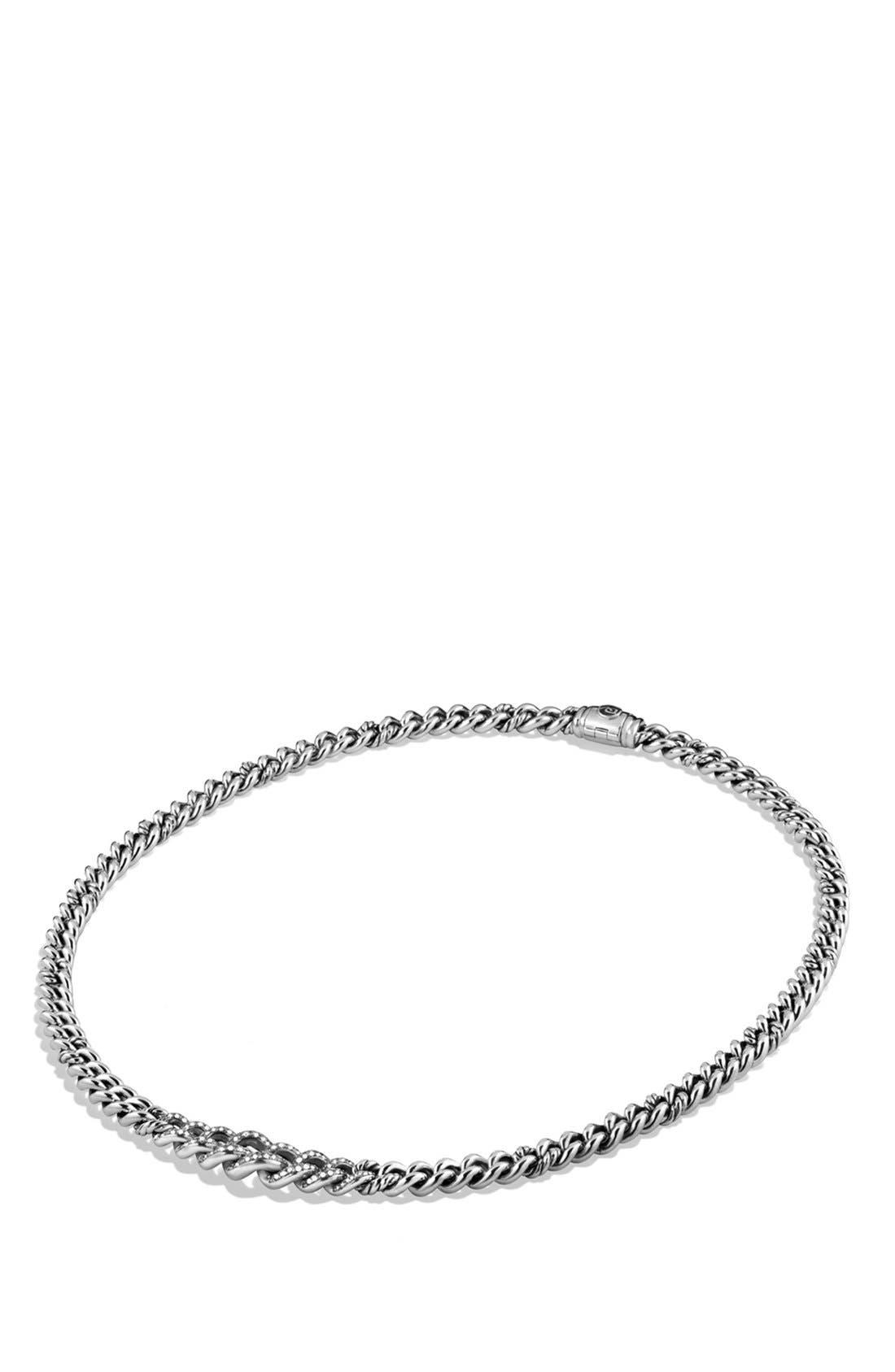 'Petite Pavé' Curb Chain Necklace with Diamonds,                             Alternate thumbnail 2, color,                             040