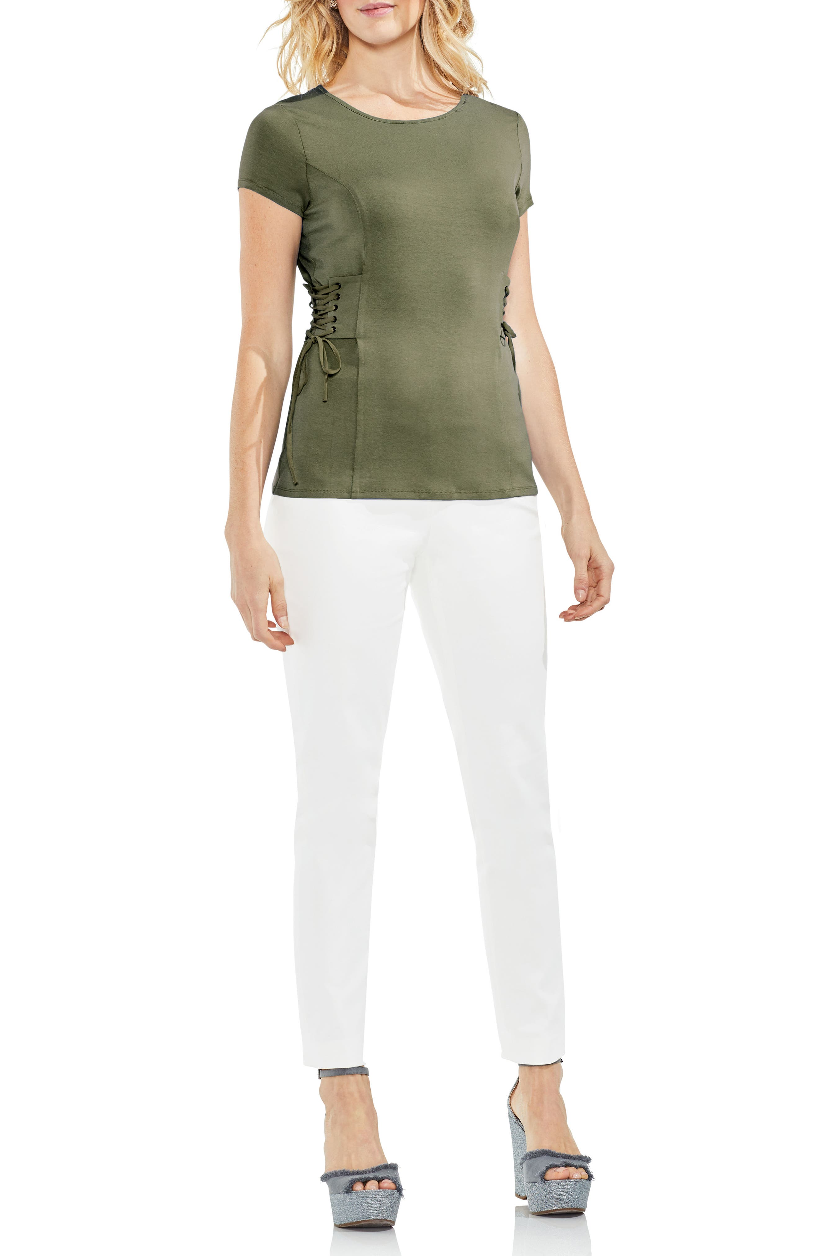 Side Lace-Up Top,                             Alternate thumbnail 3, color,                             006
