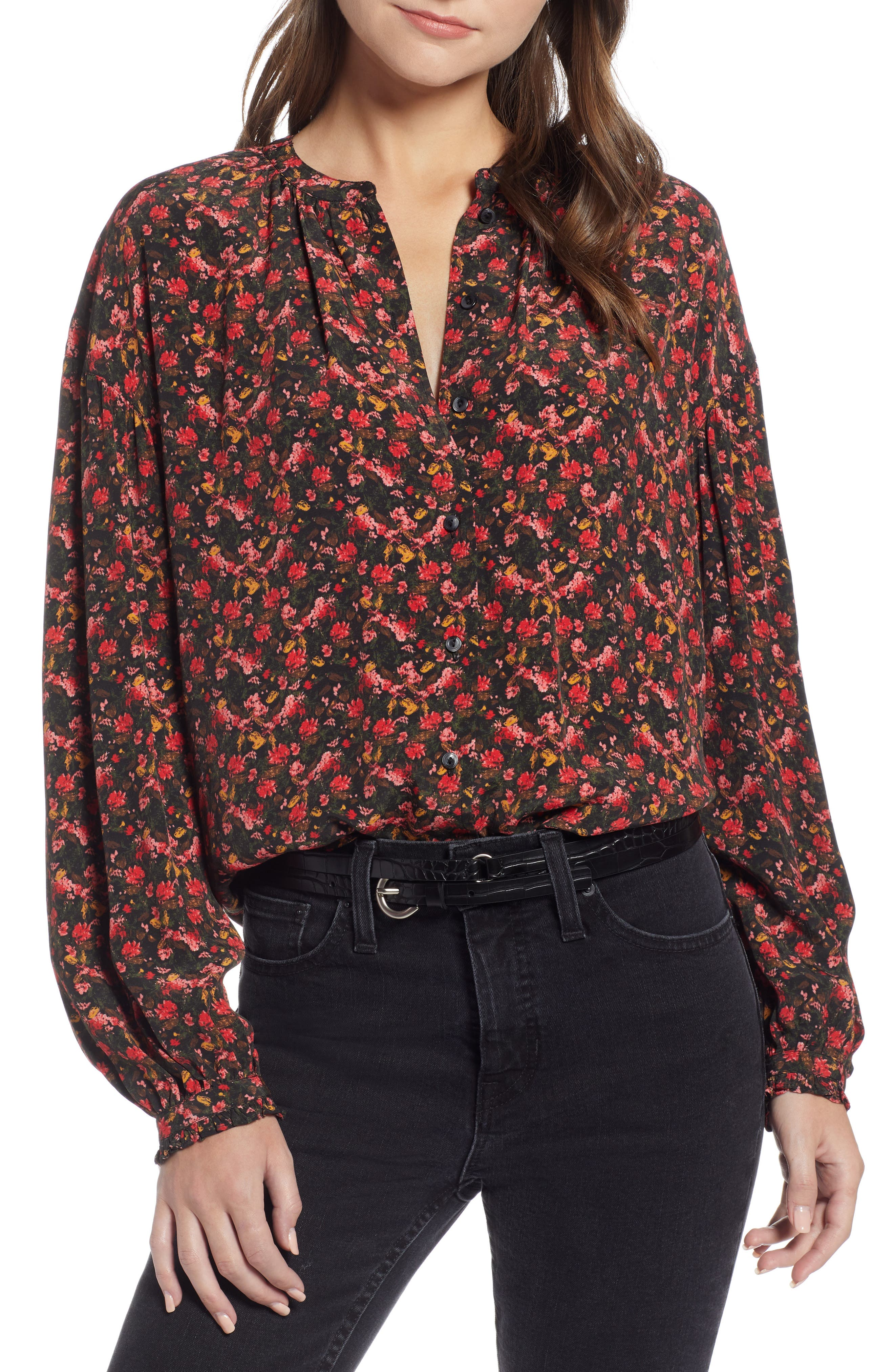 Easy Volume Top,                             Main thumbnail 1, color,                             RED BLAZE PAINTERLY FLORAL