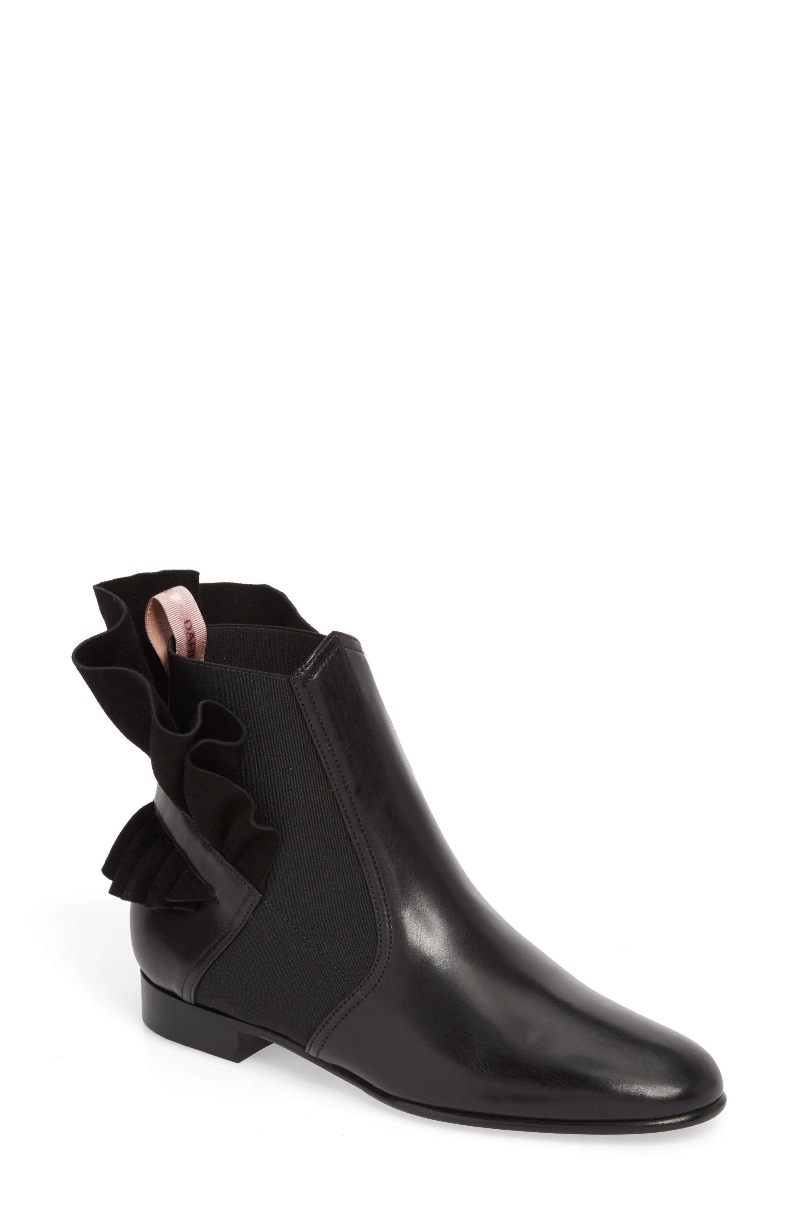 Frills For All Chelsea Boot,                             Main thumbnail 1, color,                             BLACK