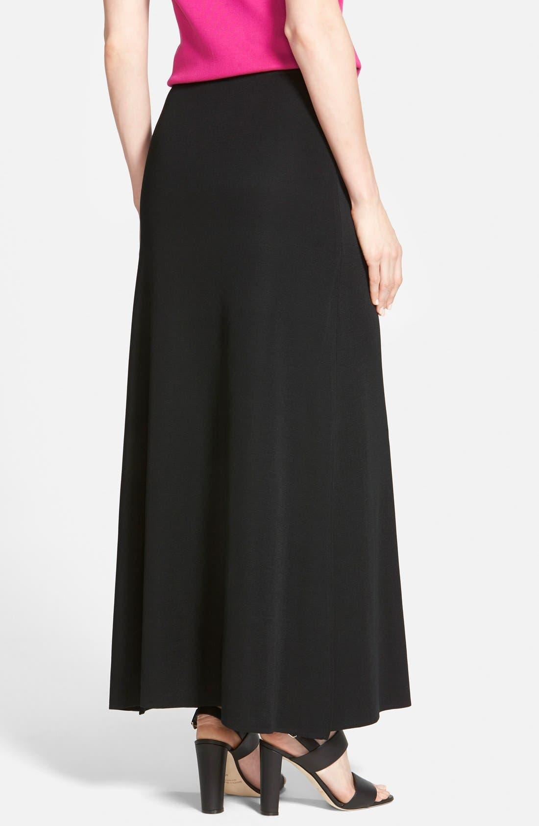 MING WANG,                             A-Line Knit Maxi Skirt,                             Alternate thumbnail 3, color,                             BLACK