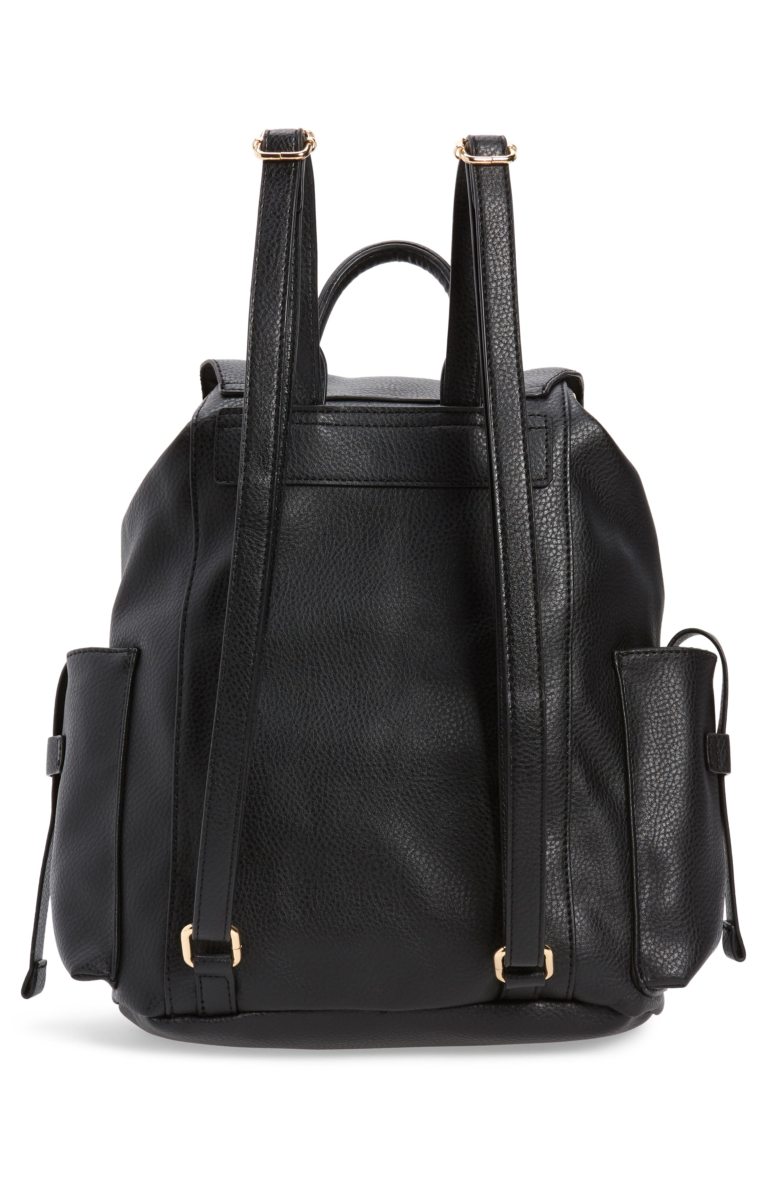 Becky Faux Leather Backpack,                             Alternate thumbnail 3, color,                             001