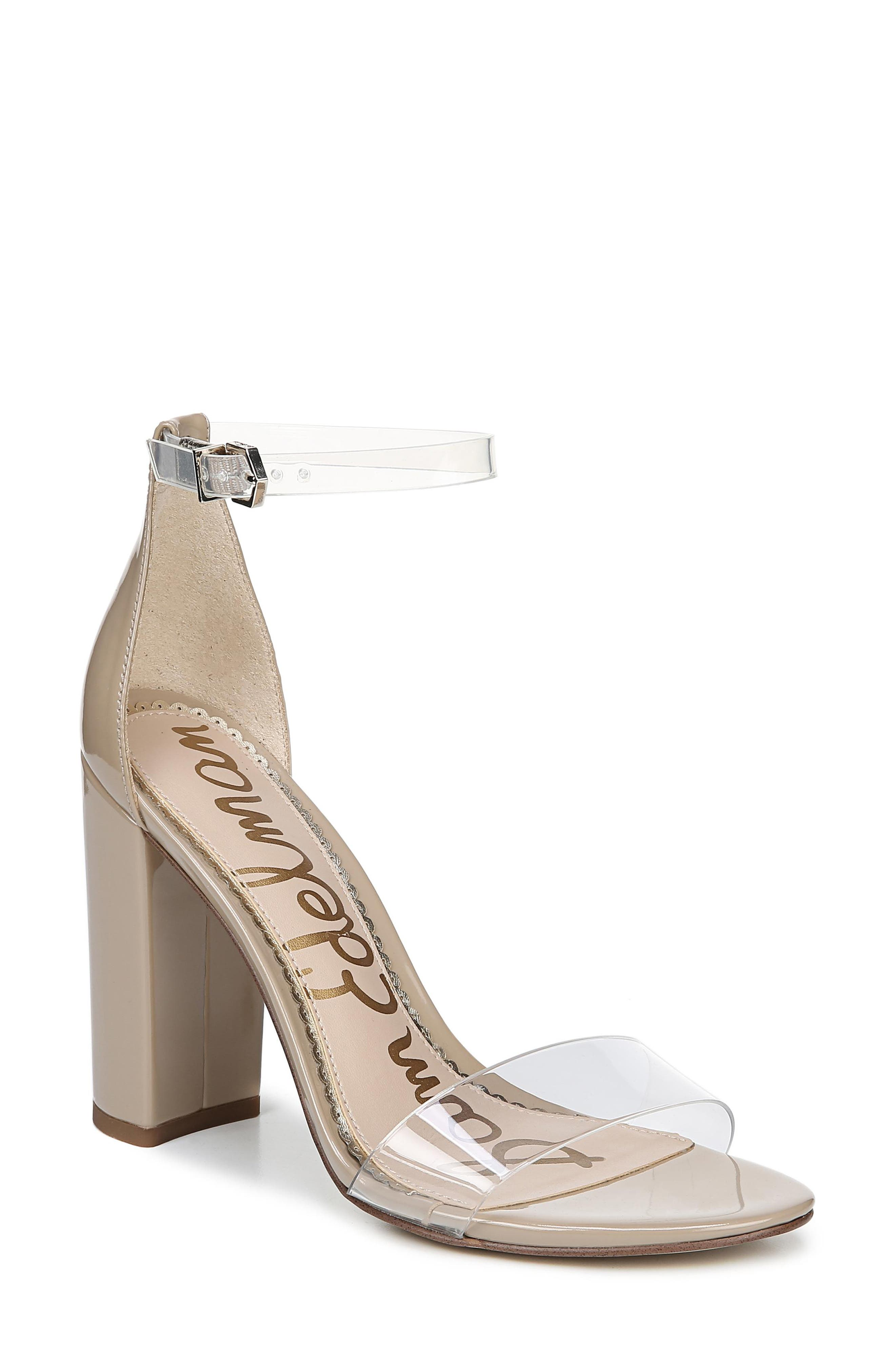 SAM EDELMAN Yaro Vinyl & Leather Ankle Strap Heels in Clear/ Nude Patent Leather